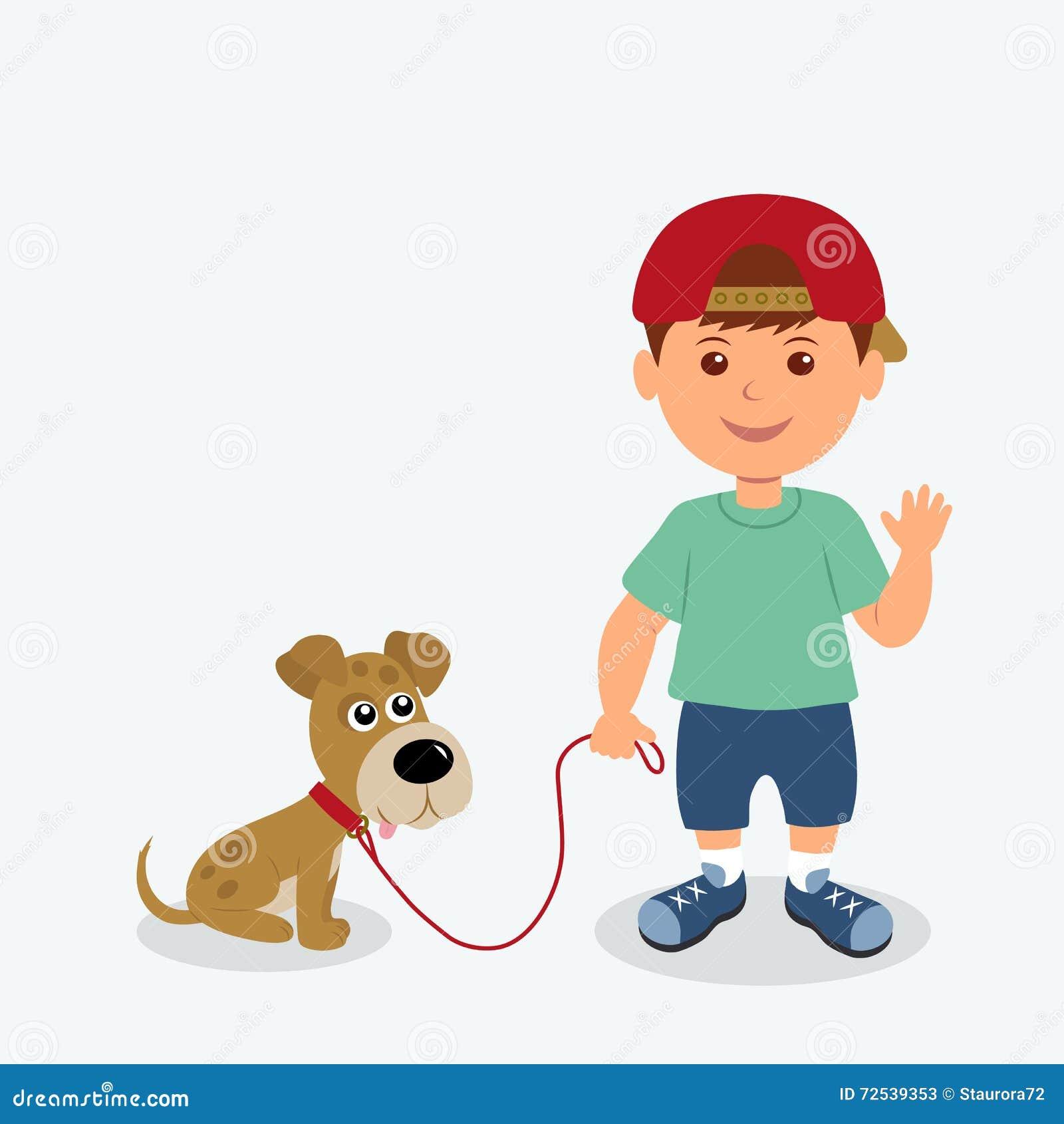 在白色背景和狗隔绝的男孩 传染媒介例证孩子和小狗最好的朋友