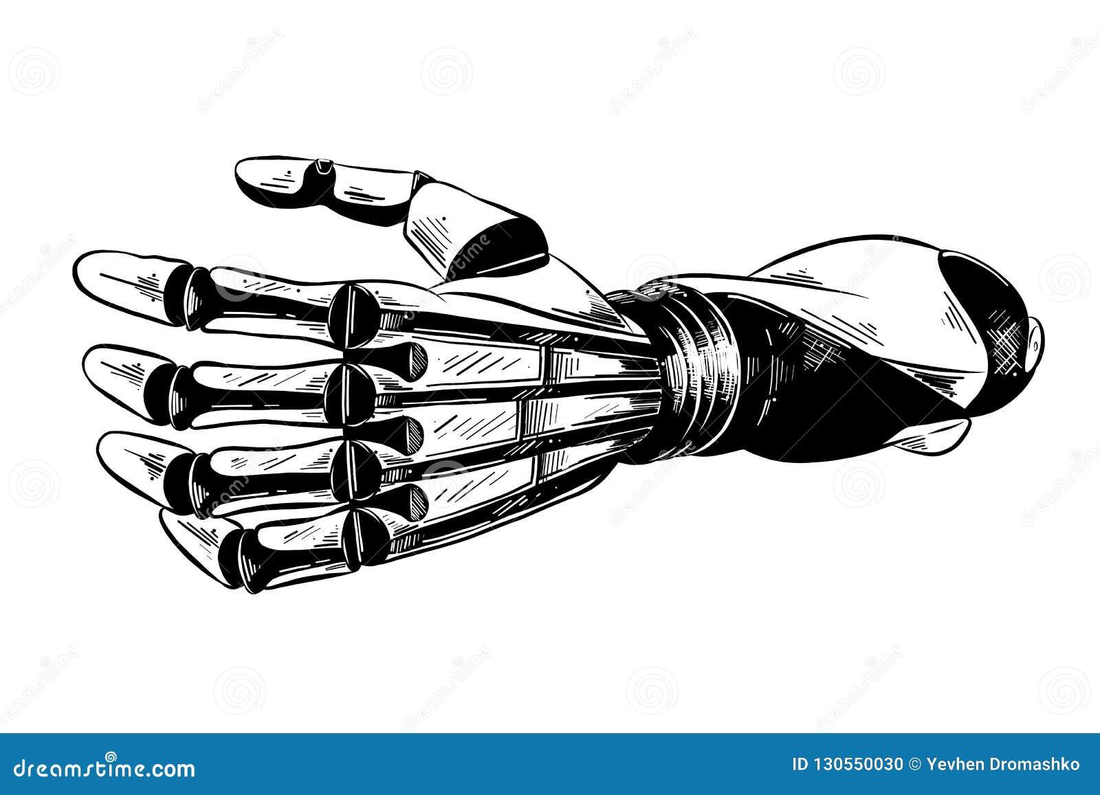 在白色背景在黑色的隔绝的机器人胳膊手拉的剪影  详细的葡萄酒蚀刻样式图画