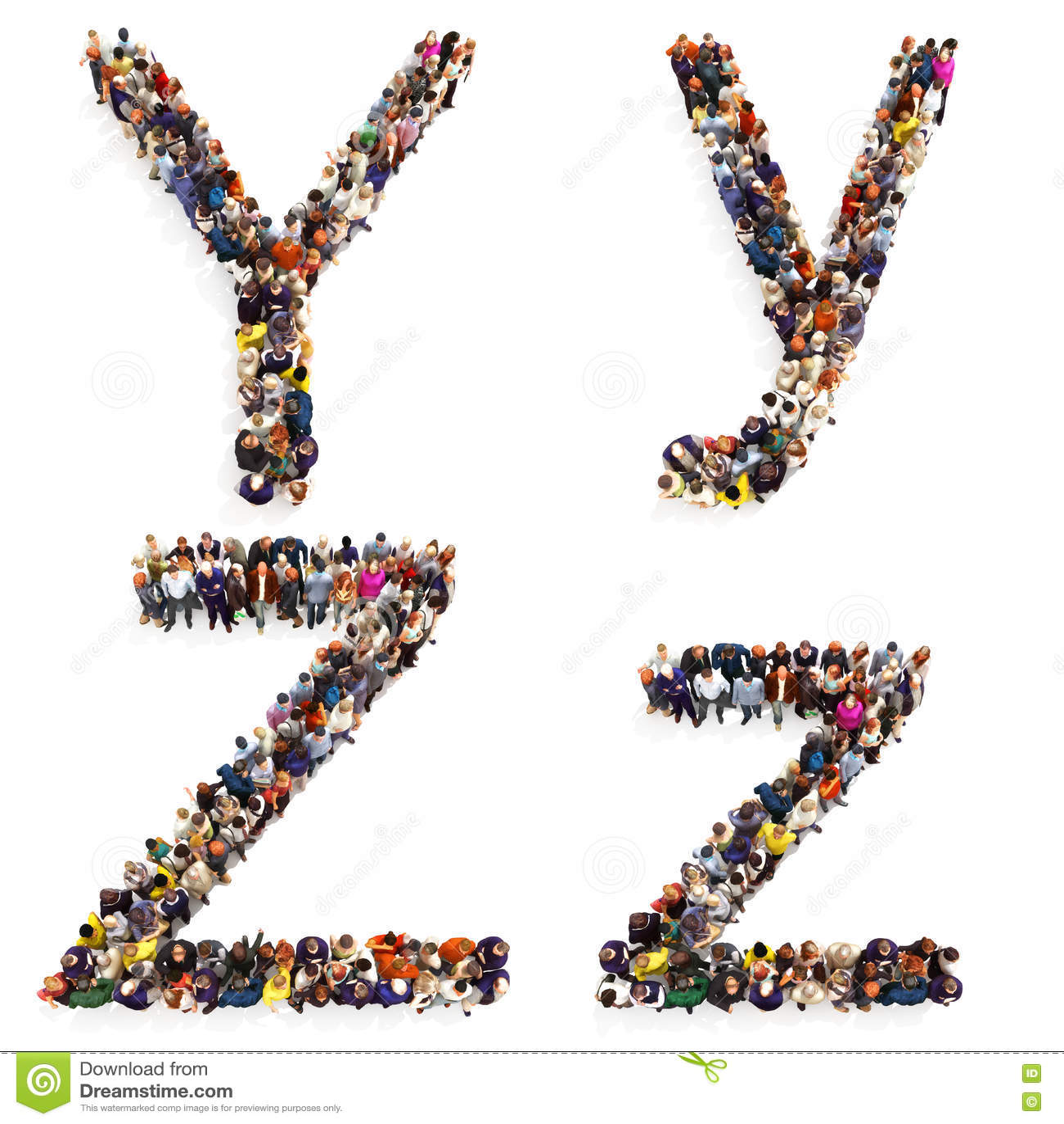 在白色背景形成在两的信件Y和Z大小写隔绝的一群大人的汇集