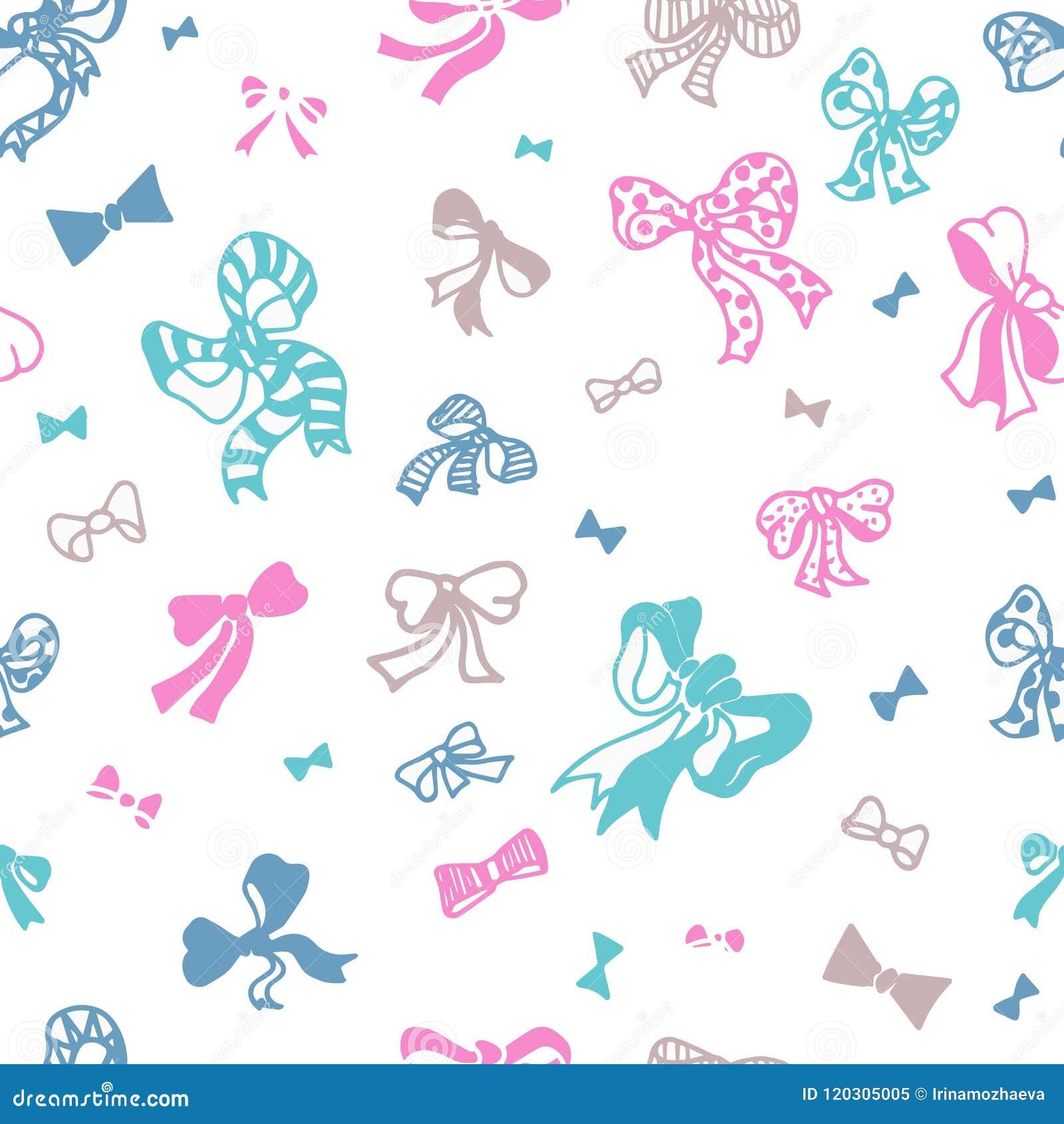 在白色背景无缝的传染媒介样式的色的弓 对于表面样式设计,包装,纺织品,礼品包装材料