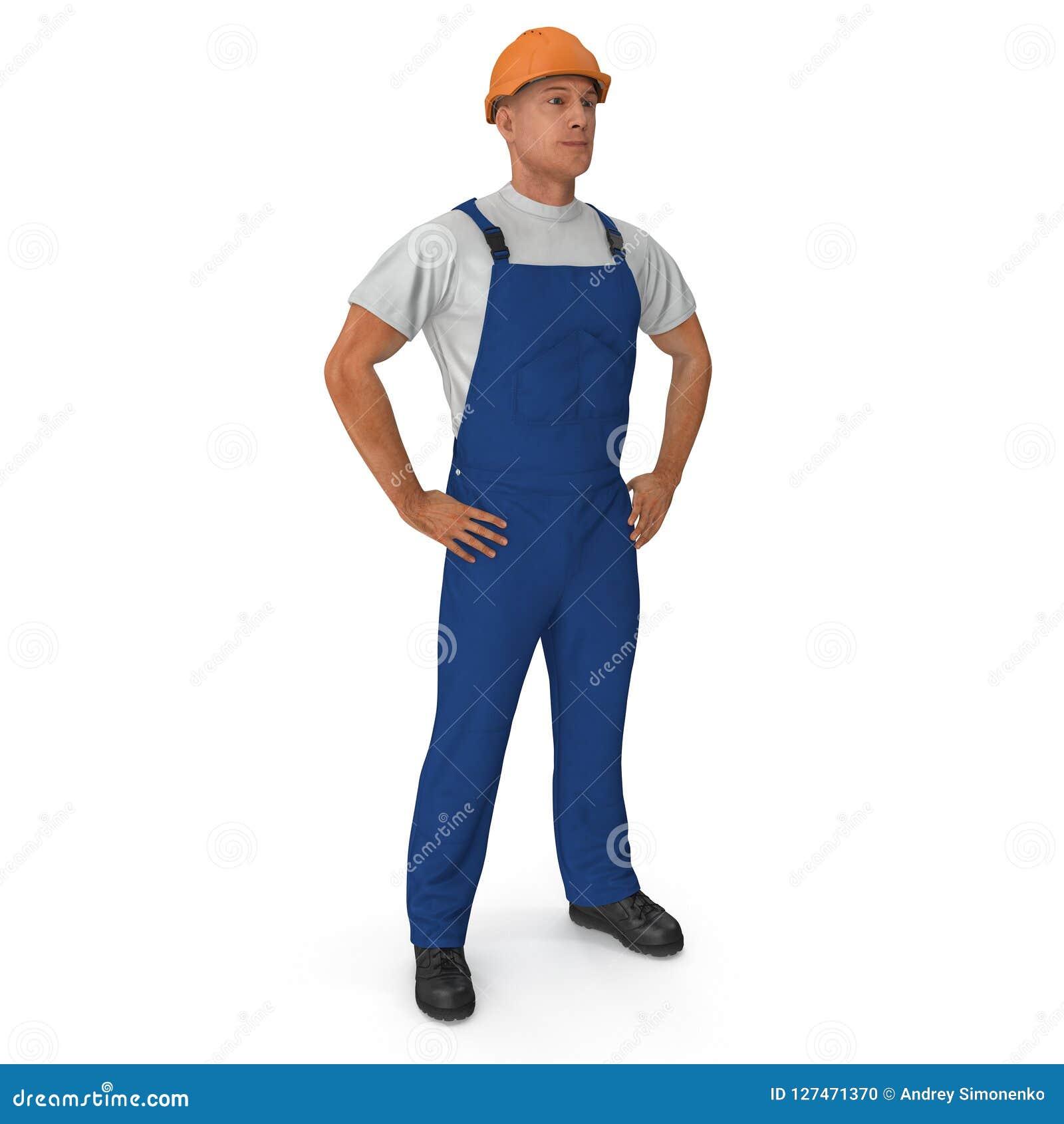 在白色背景有安全帽身分姿势的隔绝的蓝色总之的建筑工人 3d例证