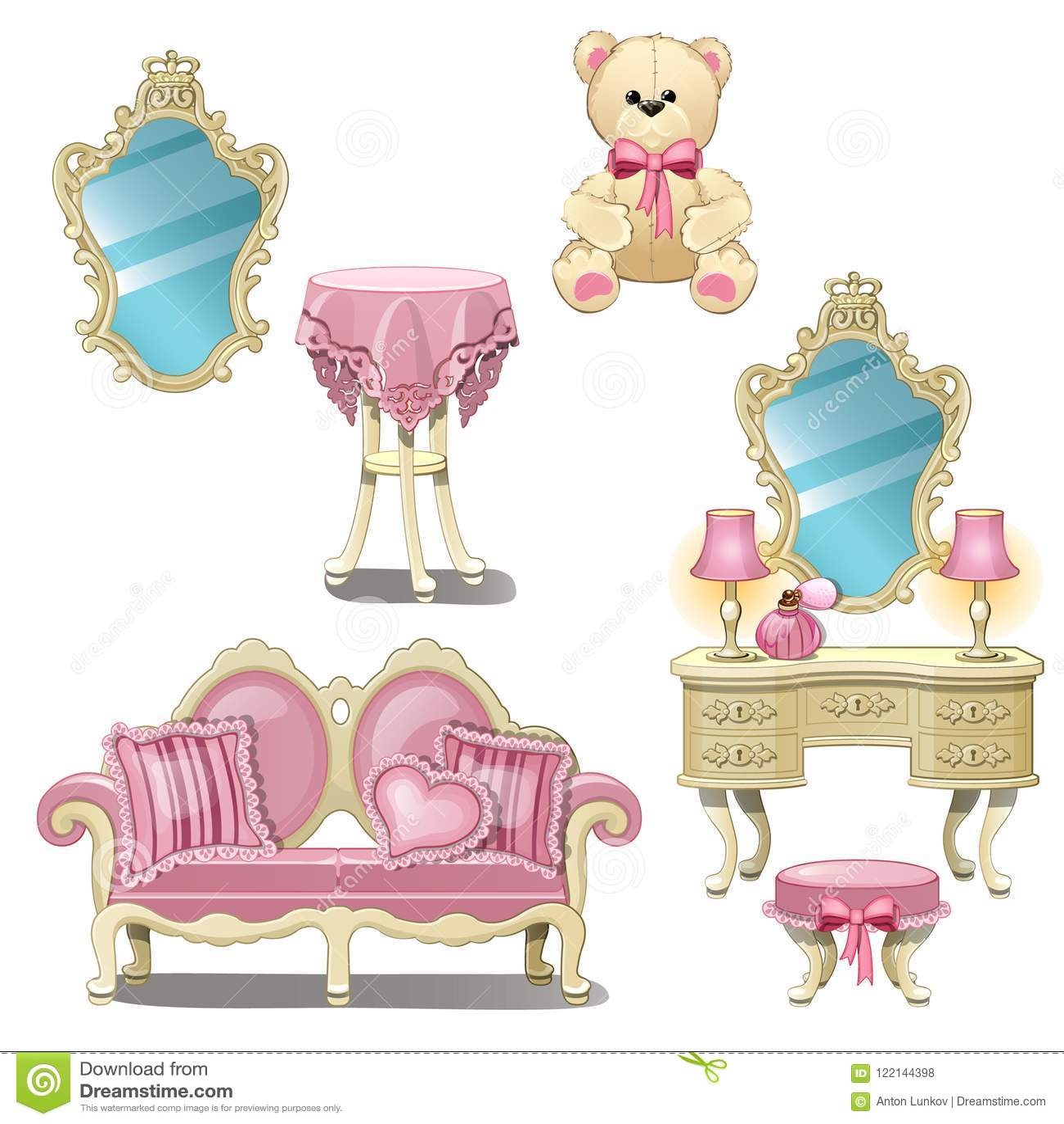 在白色背景桃红色颜色的隔绝的内部女孩室的家具 传染媒介动画片特写镜头例证