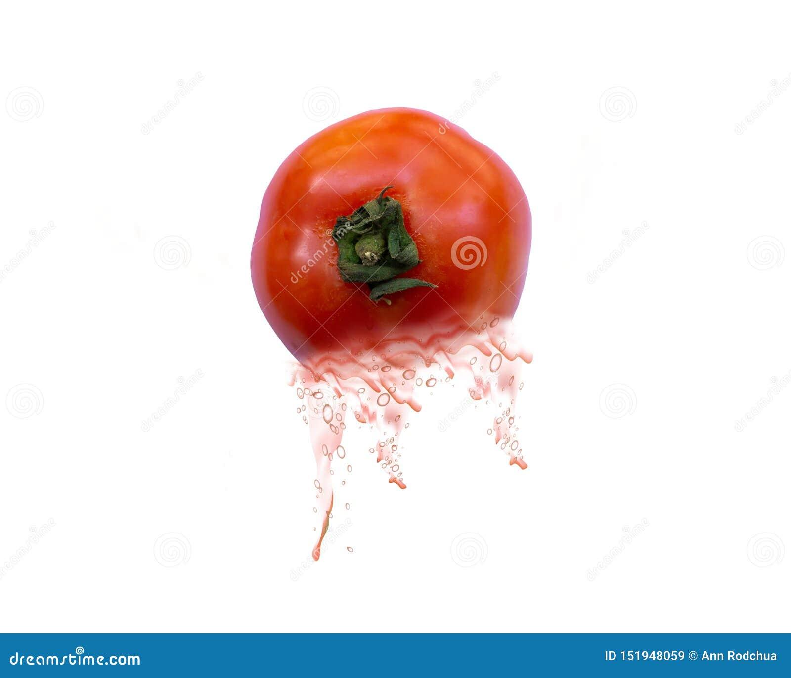 在白色背景的一西红柿汁