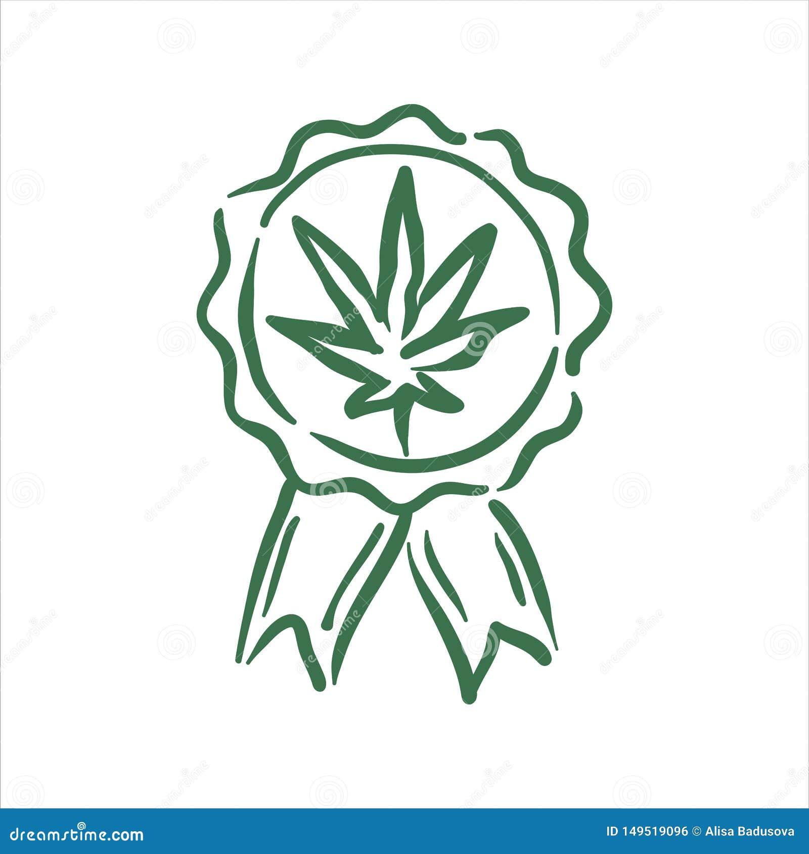 在白色背景的传染媒介手拉的大麻质量邮票例证