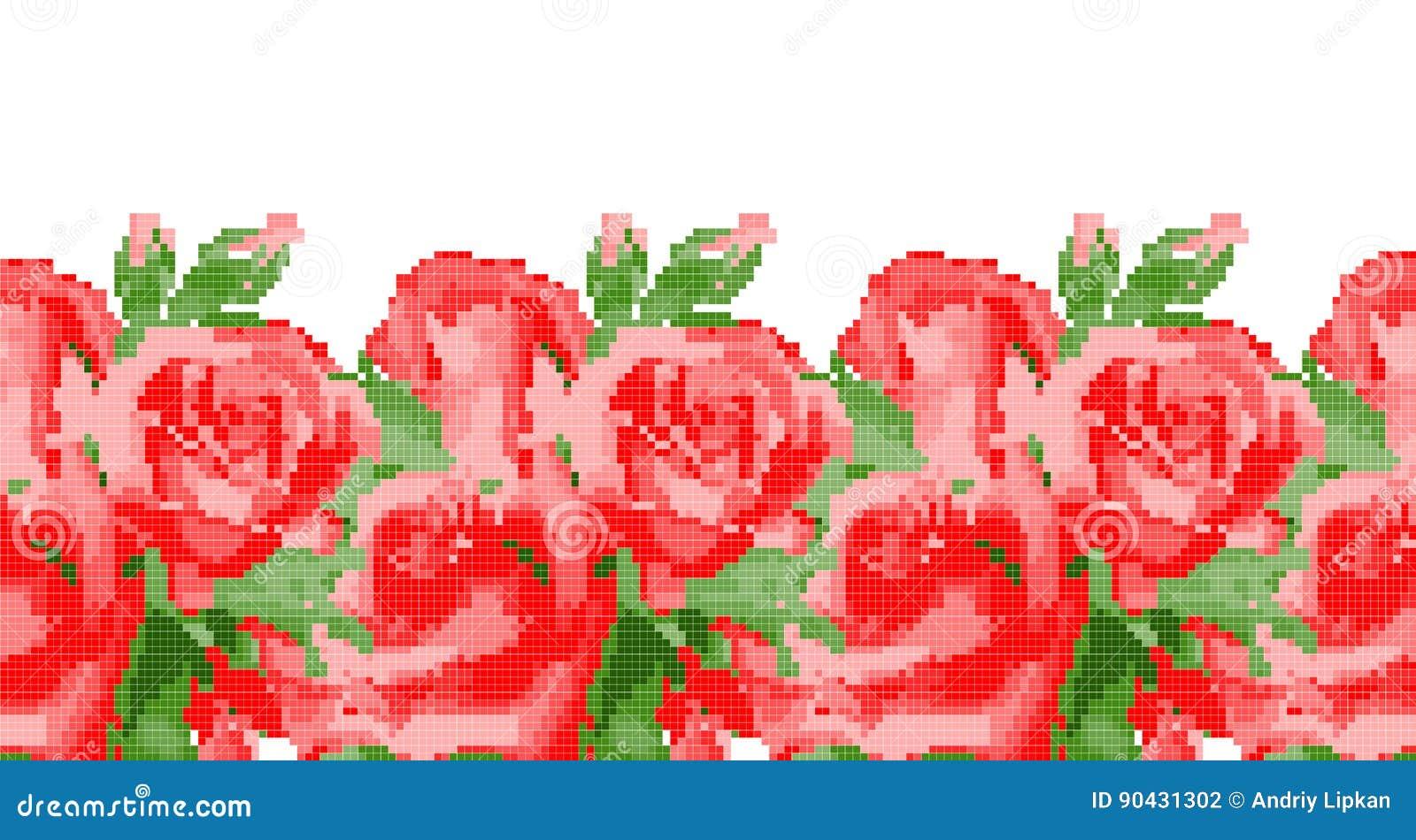 在白色背景的发怒针红色玫瑰 刺绣或针线的传染媒介样式 现代纹身花刺