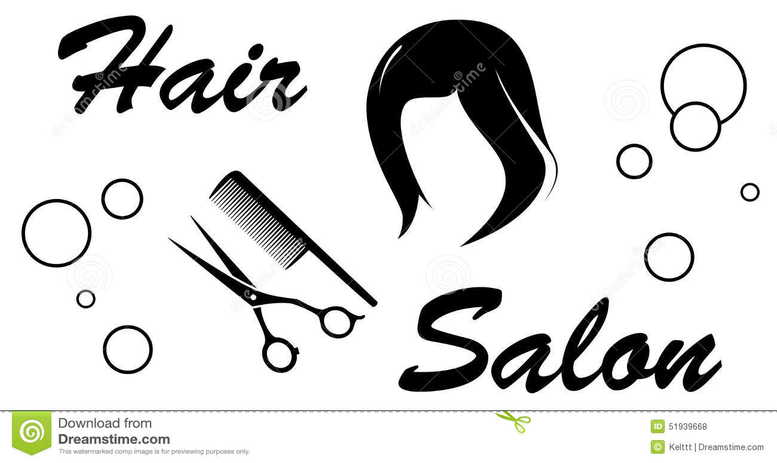 黑发与理发师的沙龙标志在白色背景反对.图片