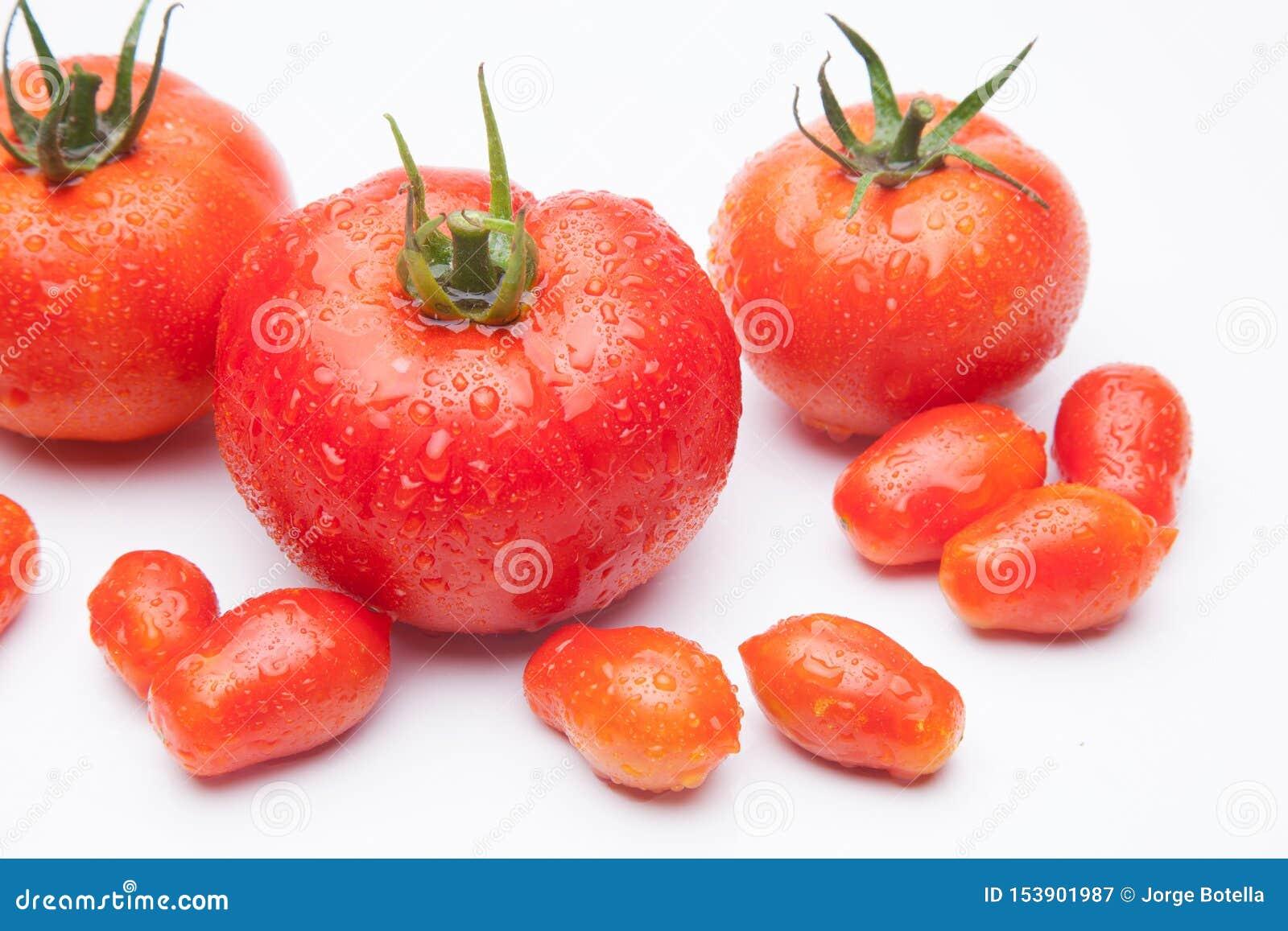 在白色背景的成熟蕃茄