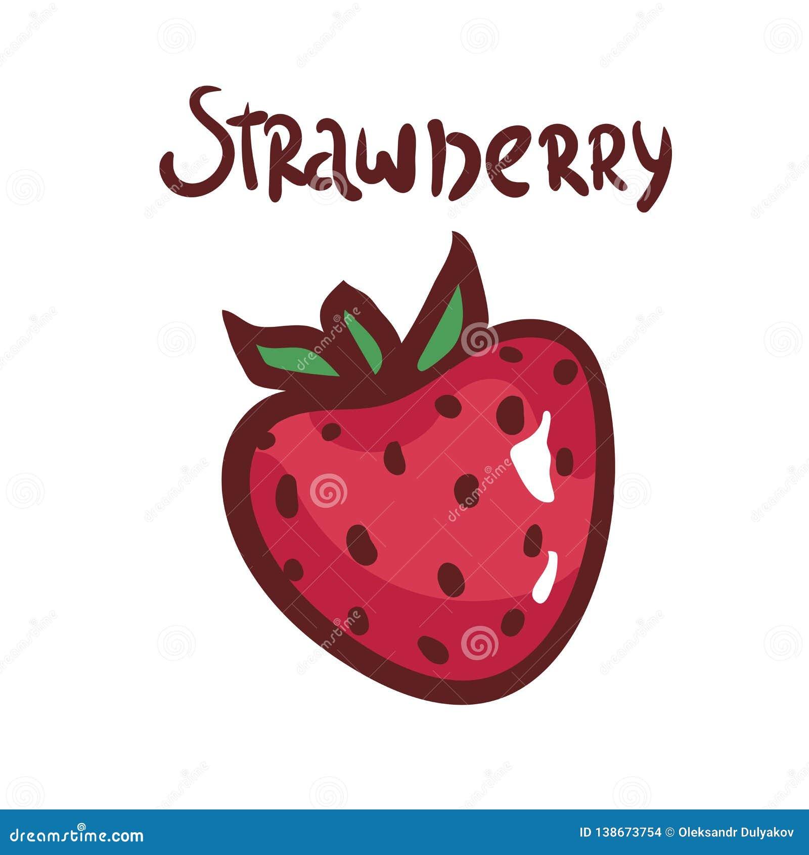 在白色背景的手拉的草莓 莓果的传染媒介例证 象,菜单的,海报例证 查出