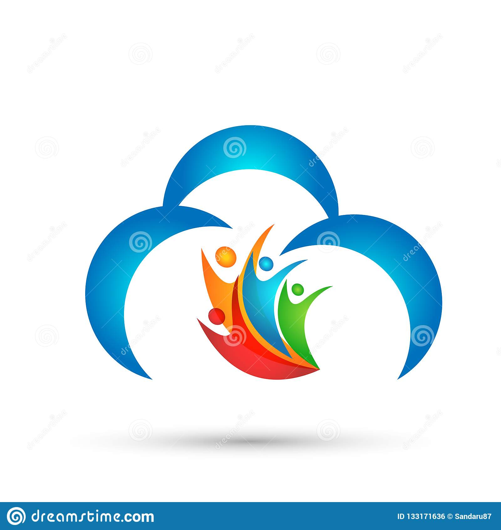 在白色背景的抽象云彩人团队工作联合健康庆祝概念标志象设计传染媒介