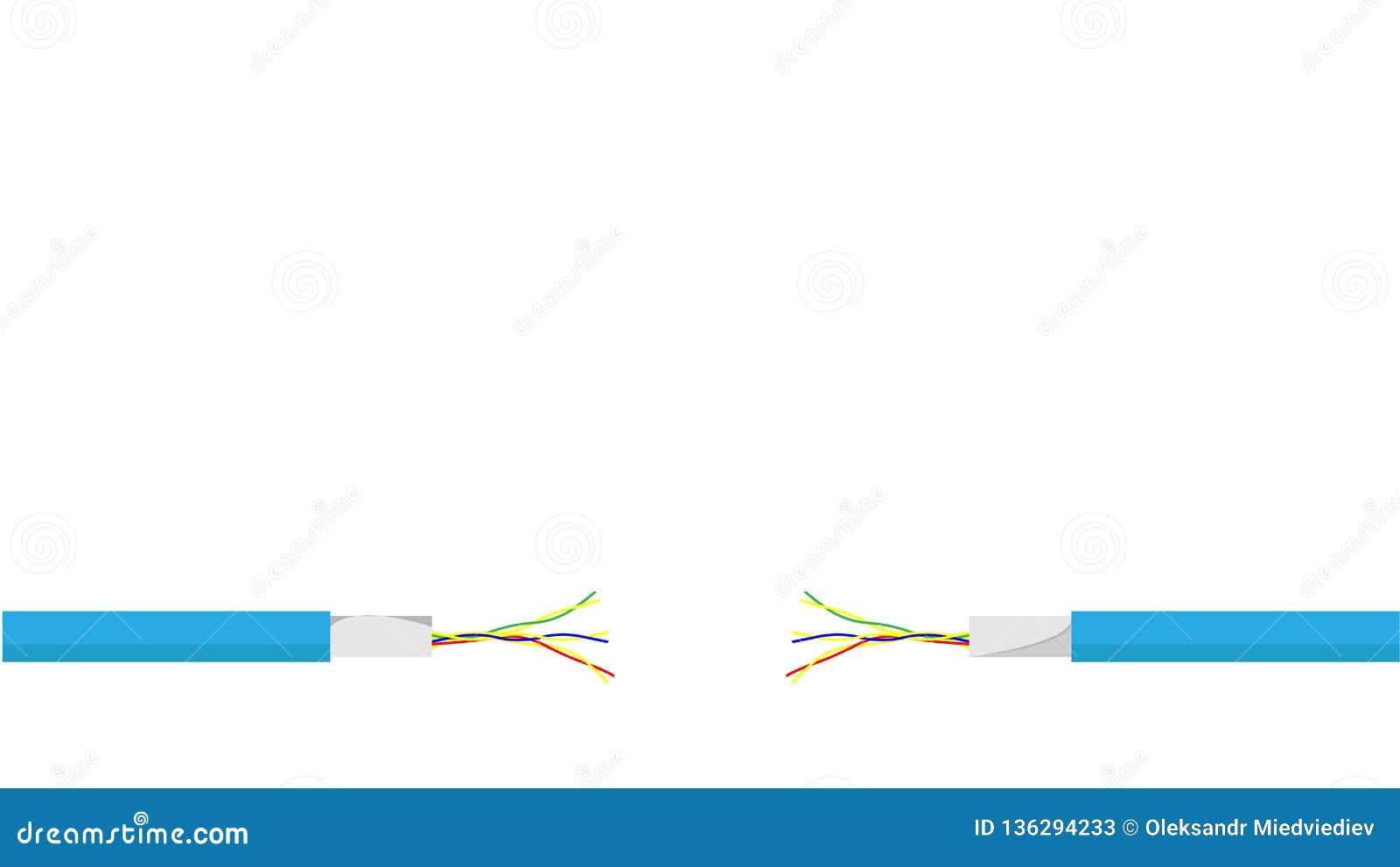 在白色背景的损坏的蓝色电线 危险残破的力量电缆 向量