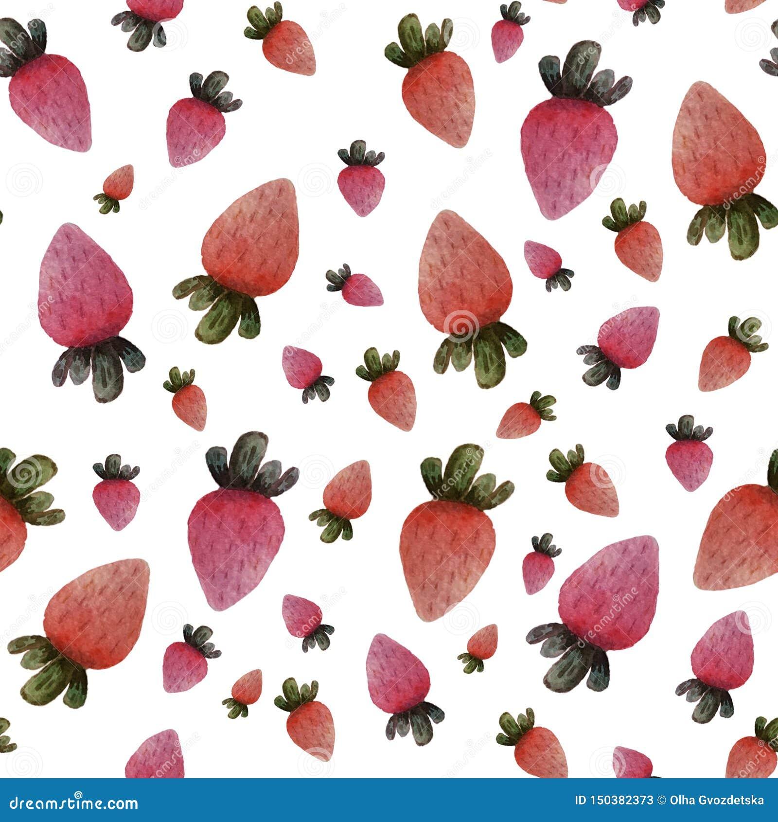 在白色背景的无缝的被隔绝的五颜六色的水彩草莓