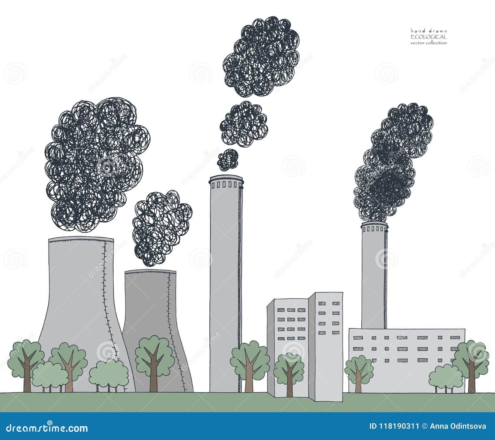 在白色背景的烟窗 从工厂的黑发烟造成的大气污染的例证和植物用管道输送,管