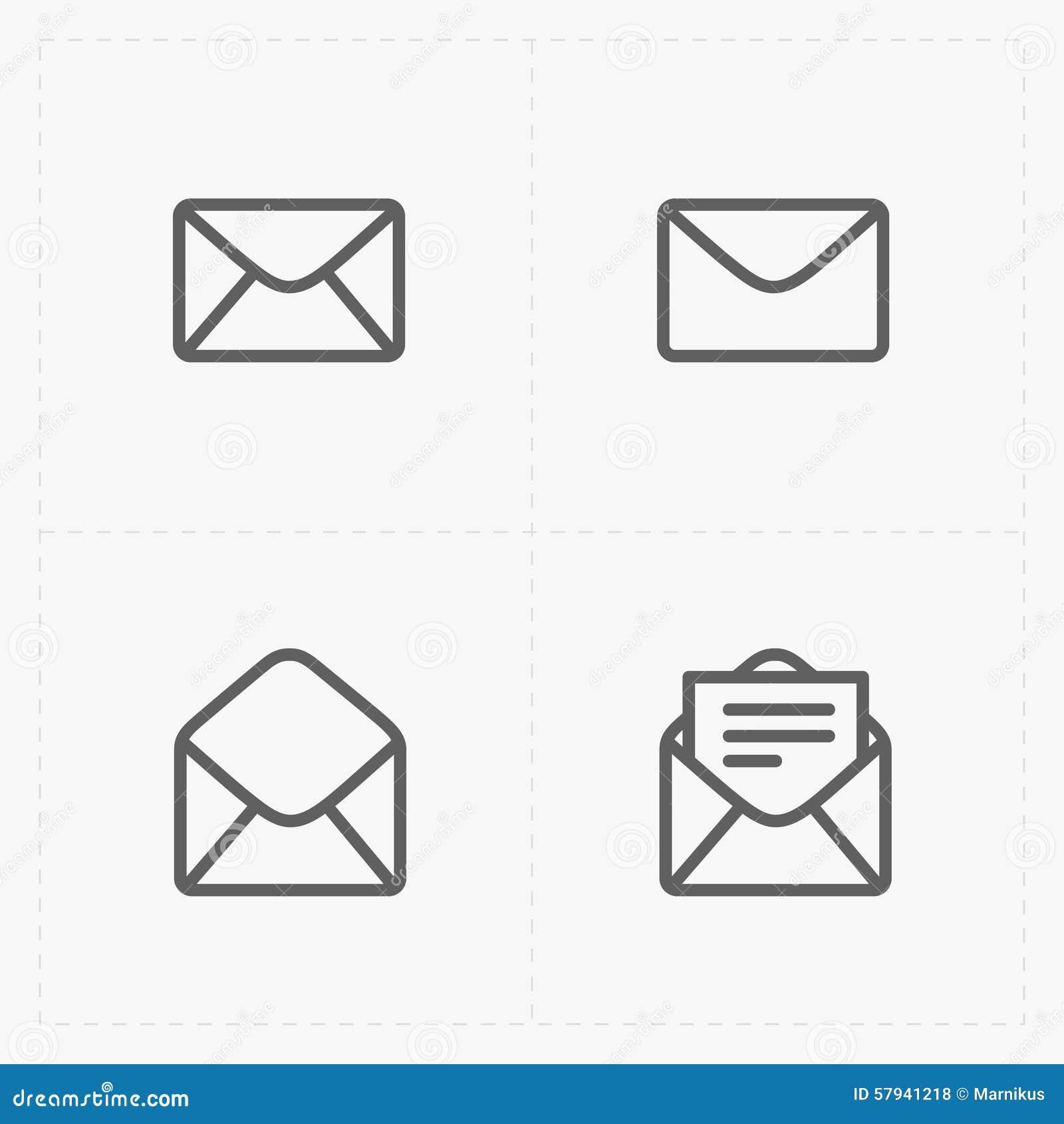 这是电子邮件和信封象的传染媒介例证在白色背景的.图片