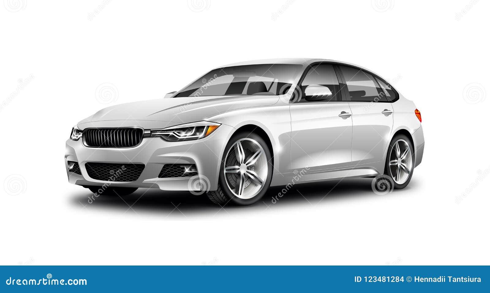 在白色背景的白色金属普通轿车汽车与被隔绝的道路
