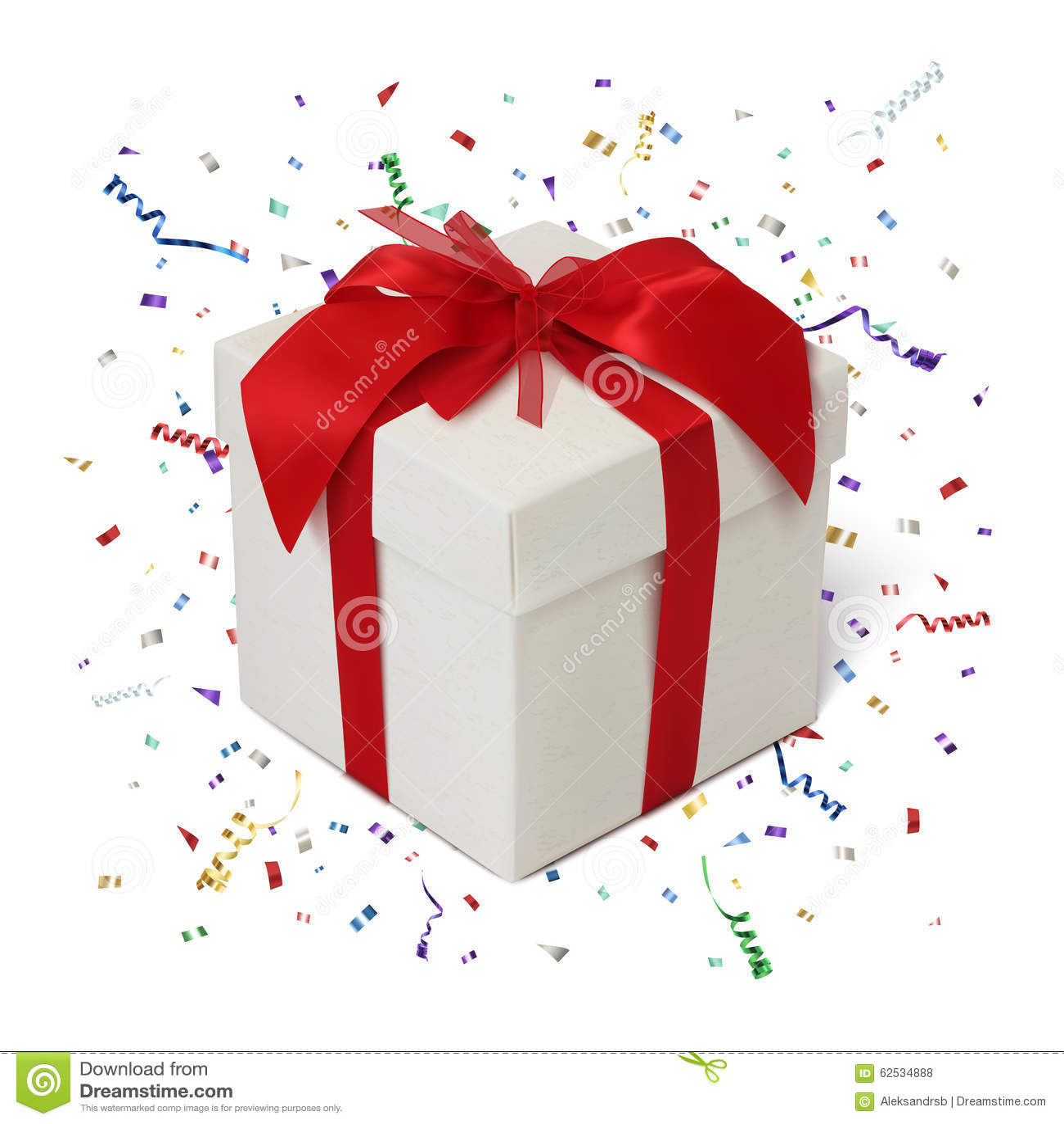 在白色背景的礼物盒与五彩纸屑