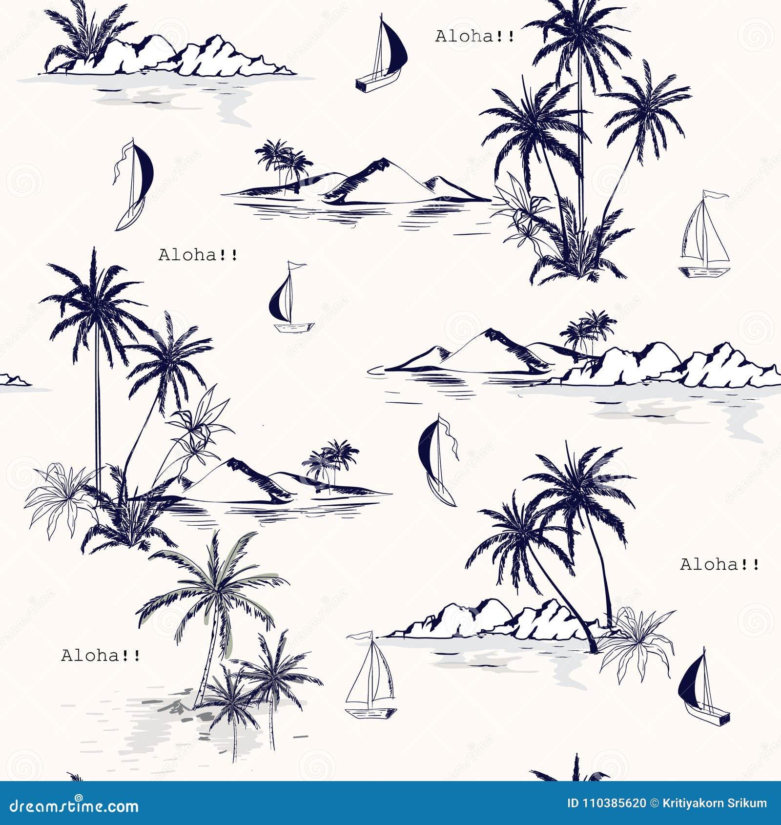 在白色背景的美好的无缝的海岛样式 风景