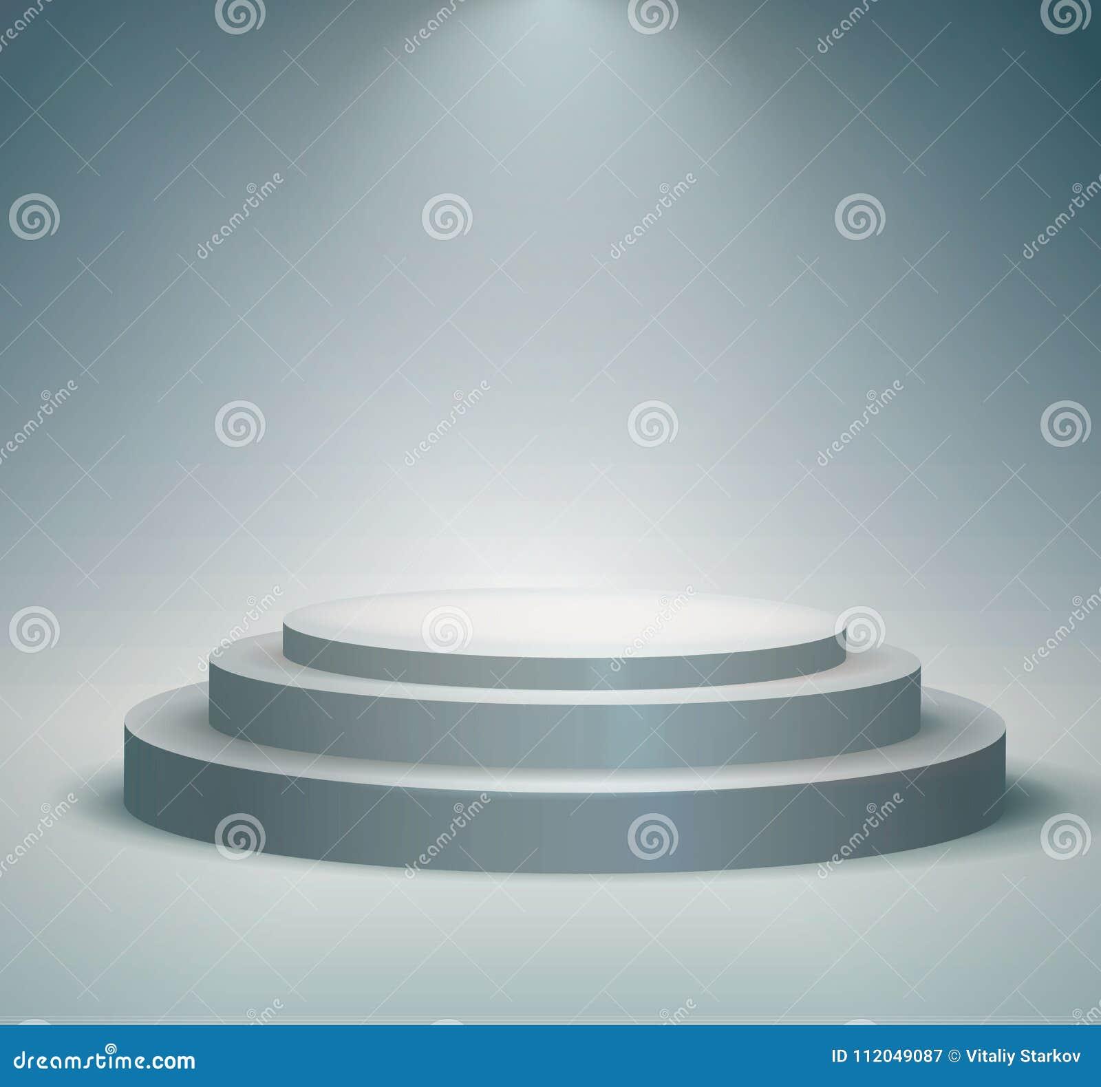 在白色背景的聚光灯或者平台阐明的圆的指挥台、垫座 与风景光的阶段 也corel凹道例证向量
