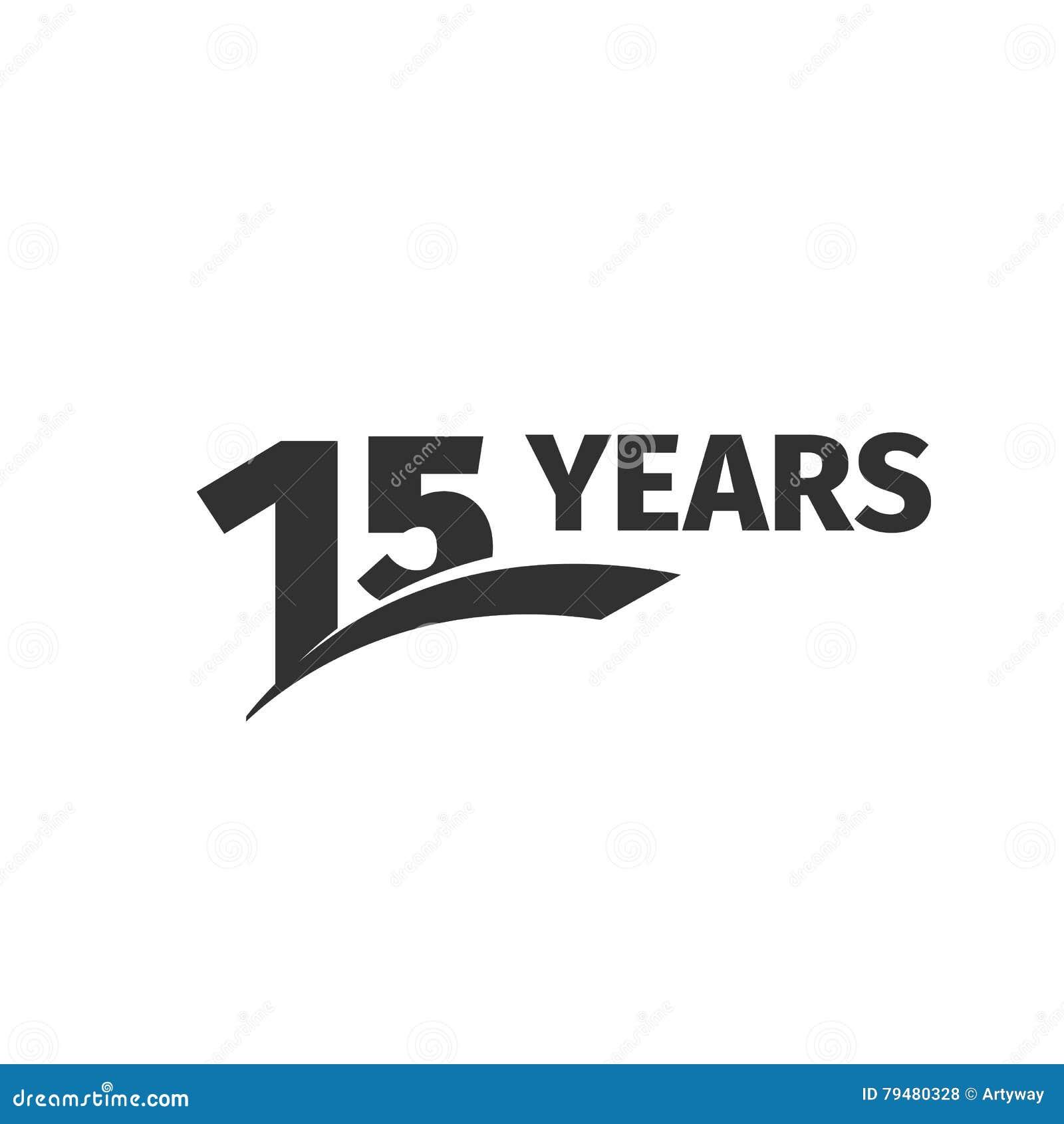 在白色背景的被隔绝的抽象黑色第15个周年商标 15个数字略写法 十五年周年纪念庆祝