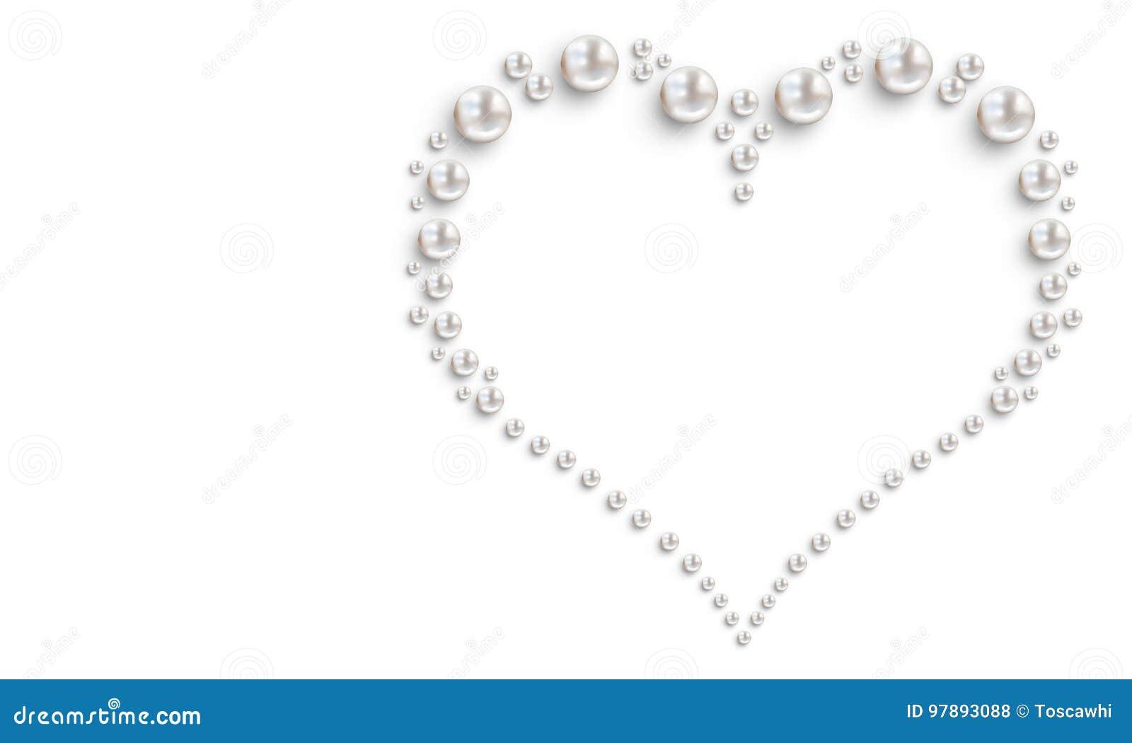在白色背景的许多小和大白色珍珠
