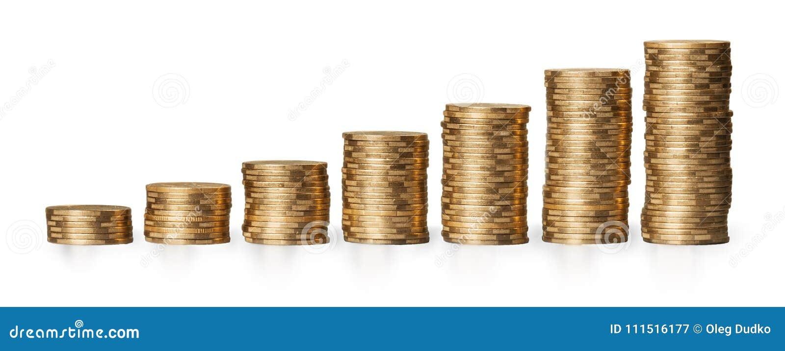 在白色背景的金黄硬币堆