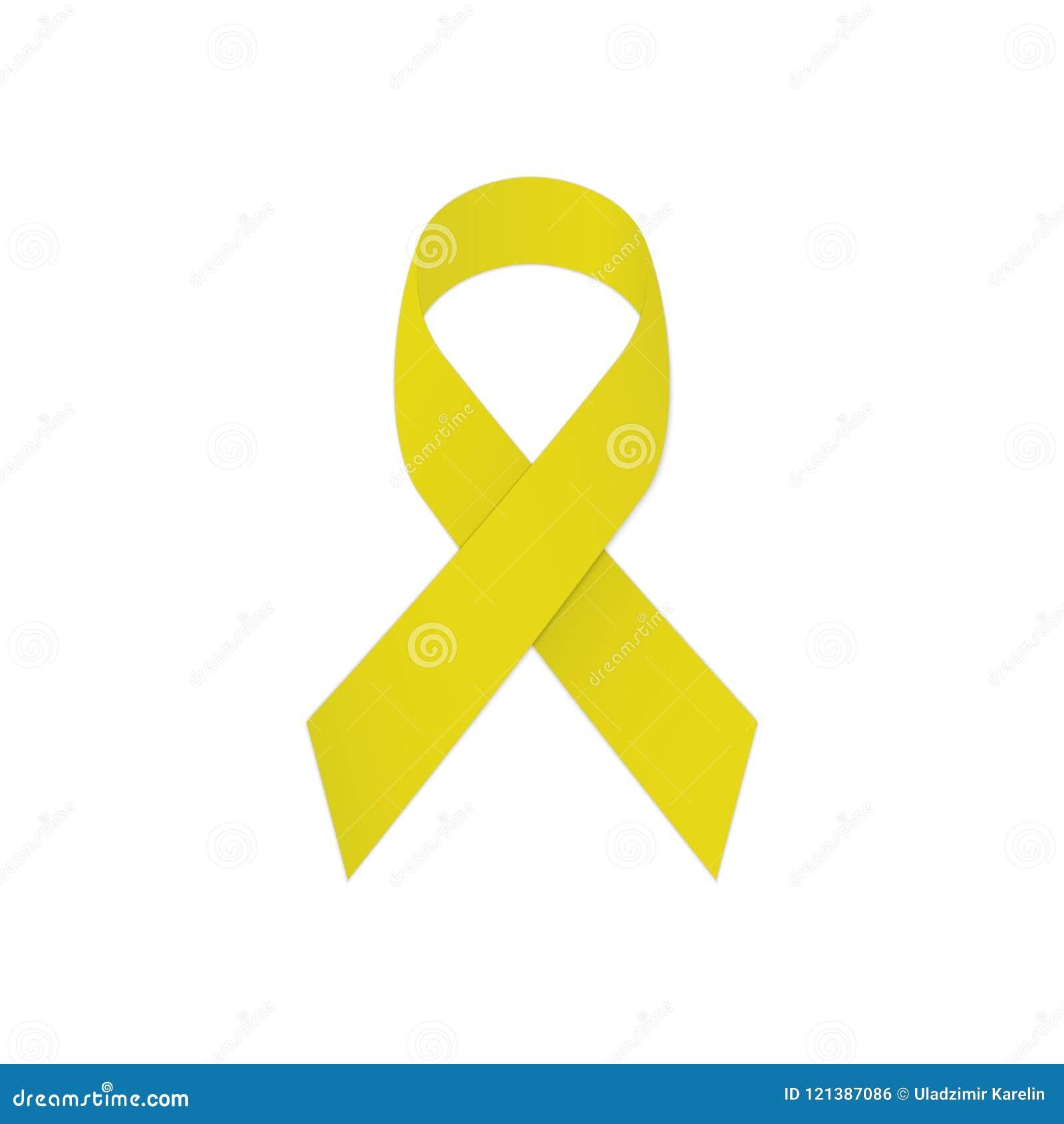 在白色背景的黄色丝带 符号自杀预防