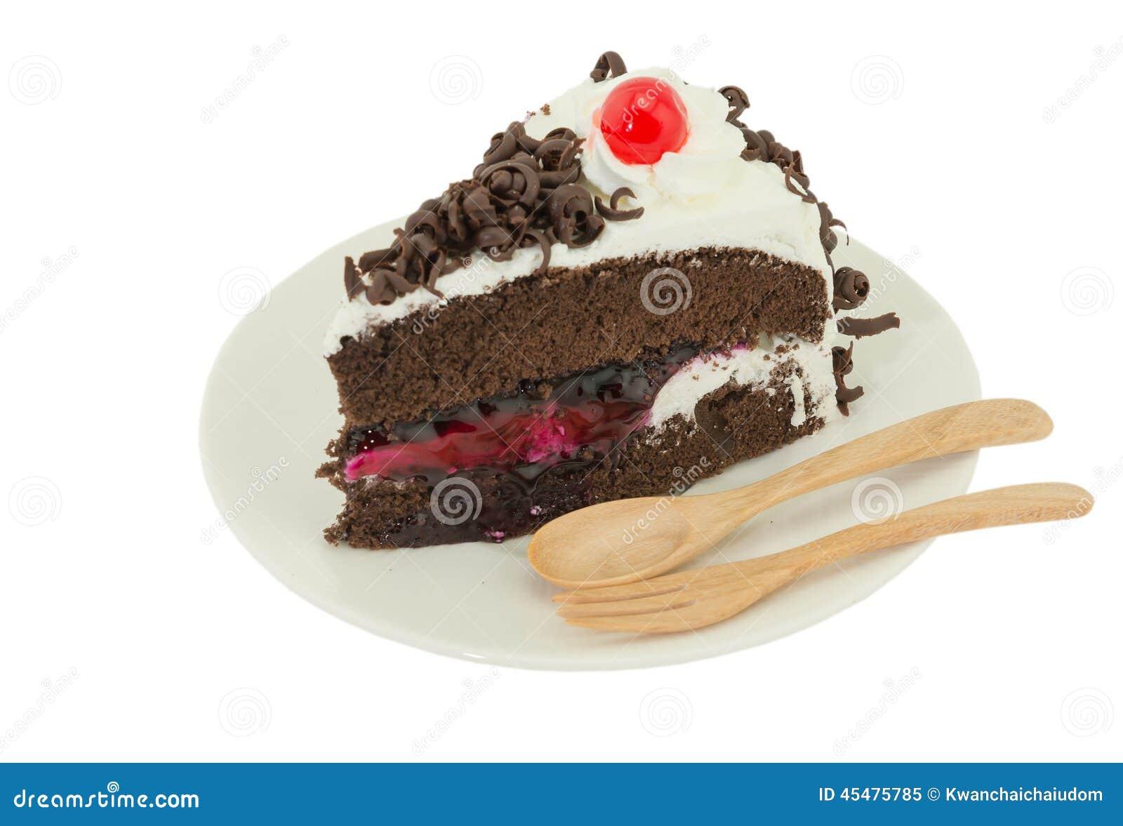 在白色背景的Blackforest蛋糕