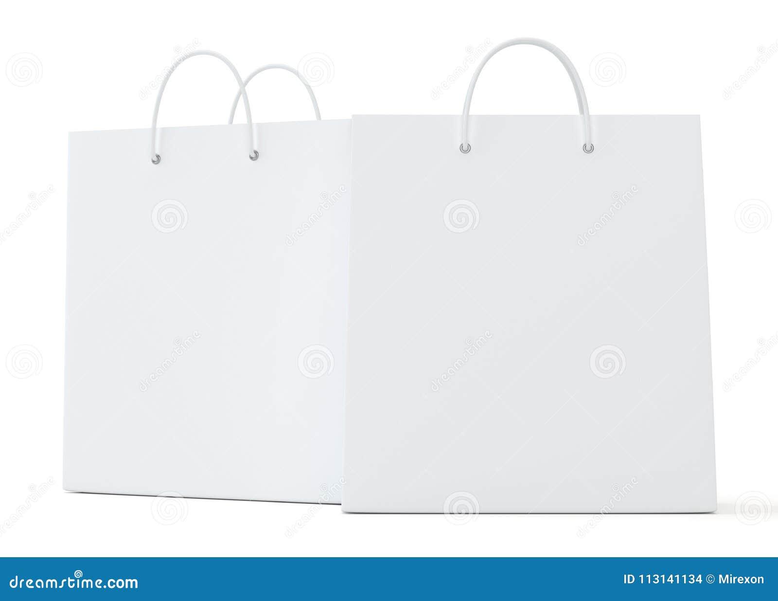 在白色背景翻译的空的购物袋做广告和烙记的 3d例证