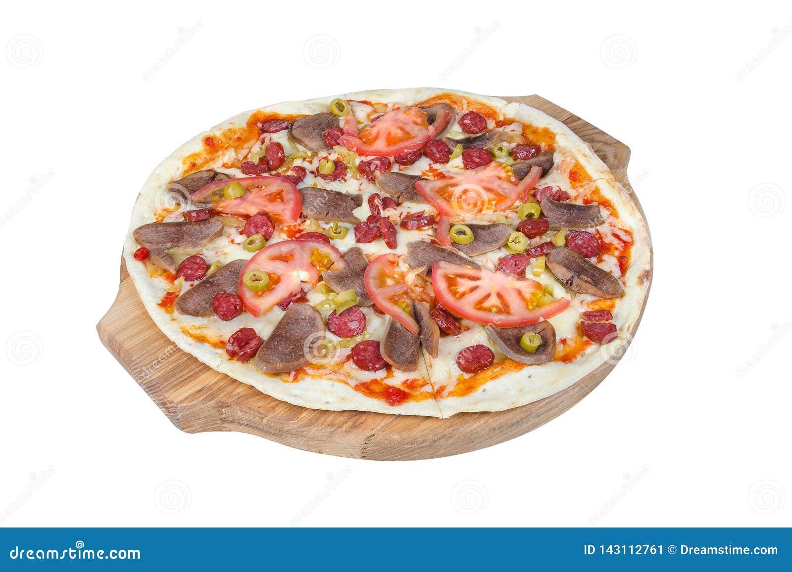 在白色背景隔绝的一个圆的切板的西西里人的比萨