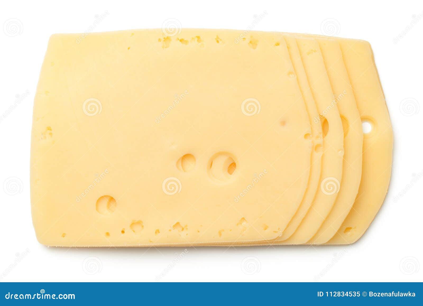 在白色背景隔绝的乳酪切片
