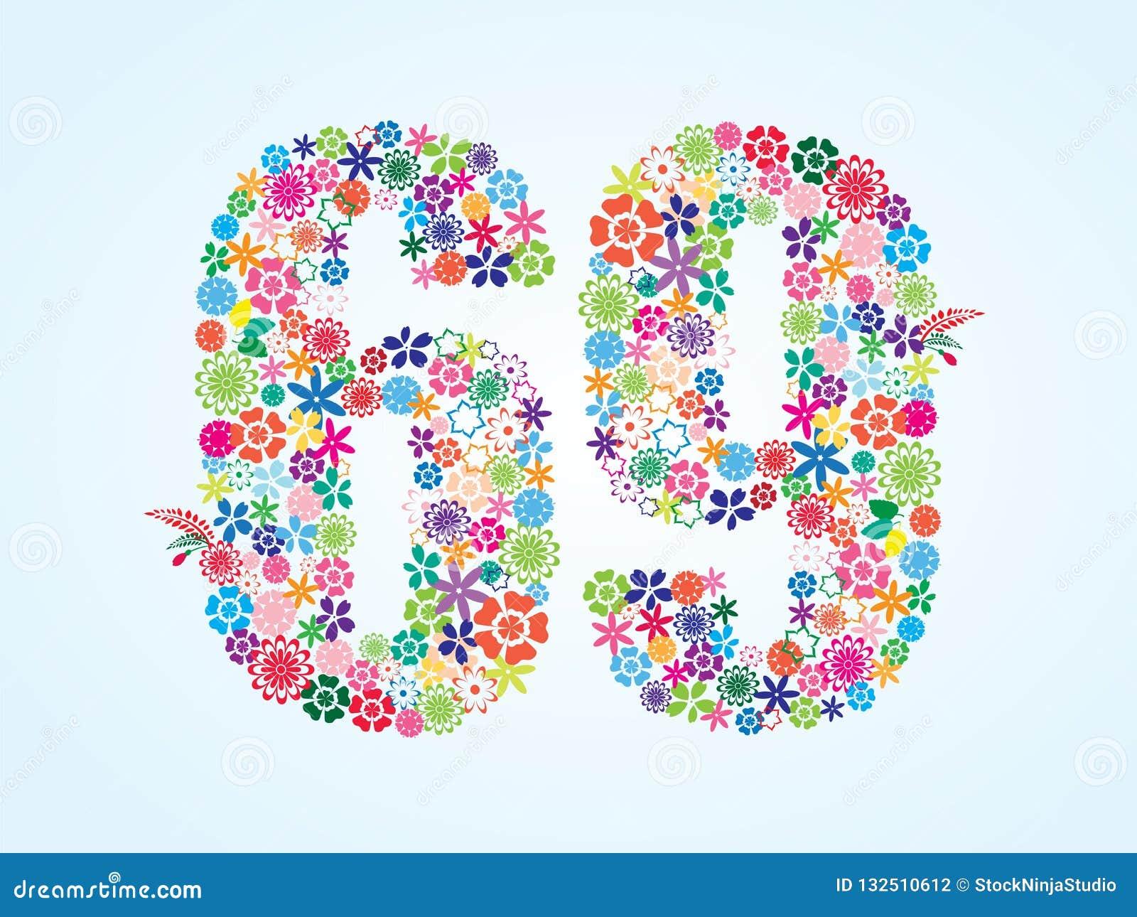 在白色背景隔绝的传染媒介五颜六色的花卉69个数字设计 花卉第六十九字体