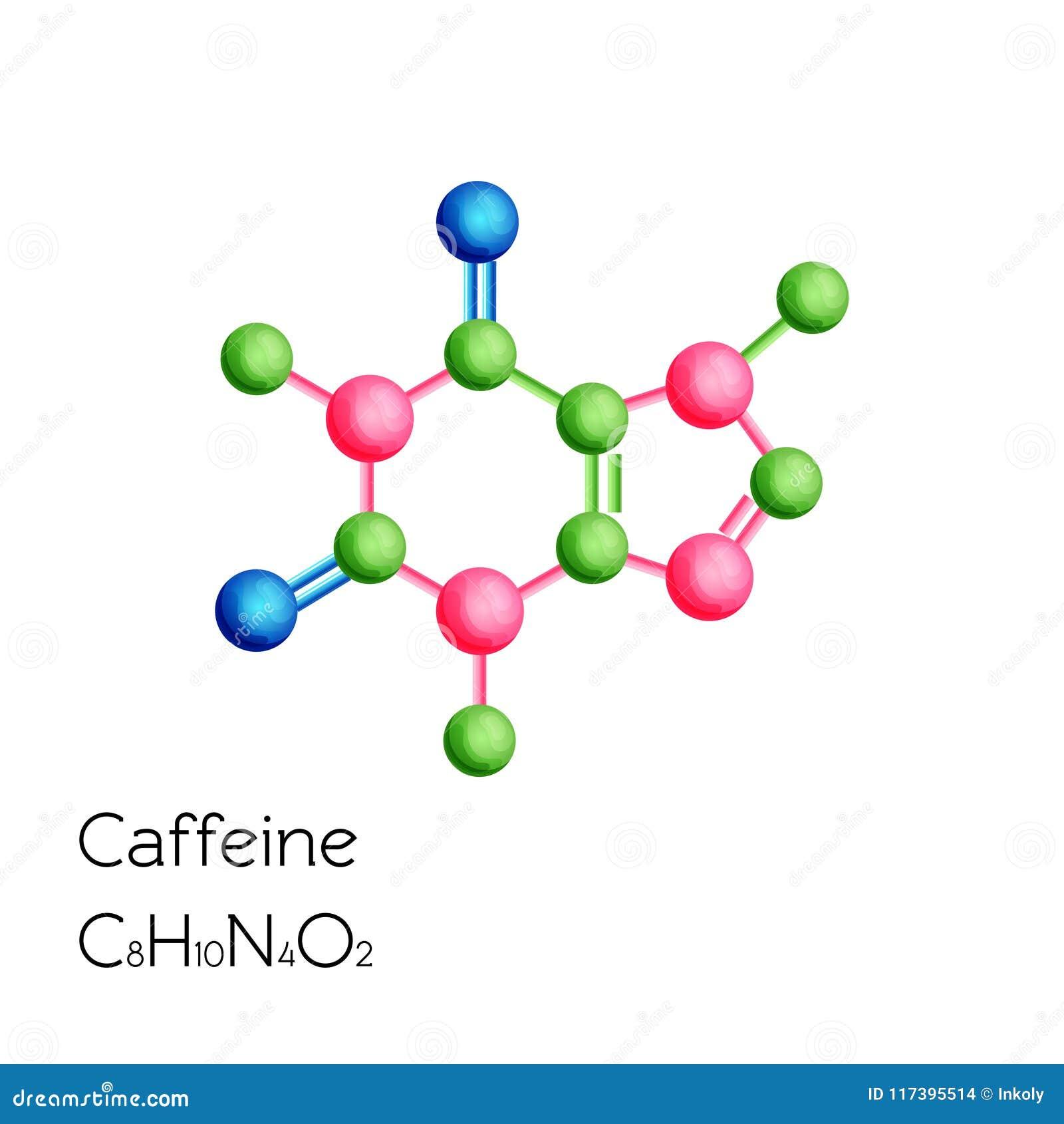 在白色背景隔绝的咖啡因结构化学式
