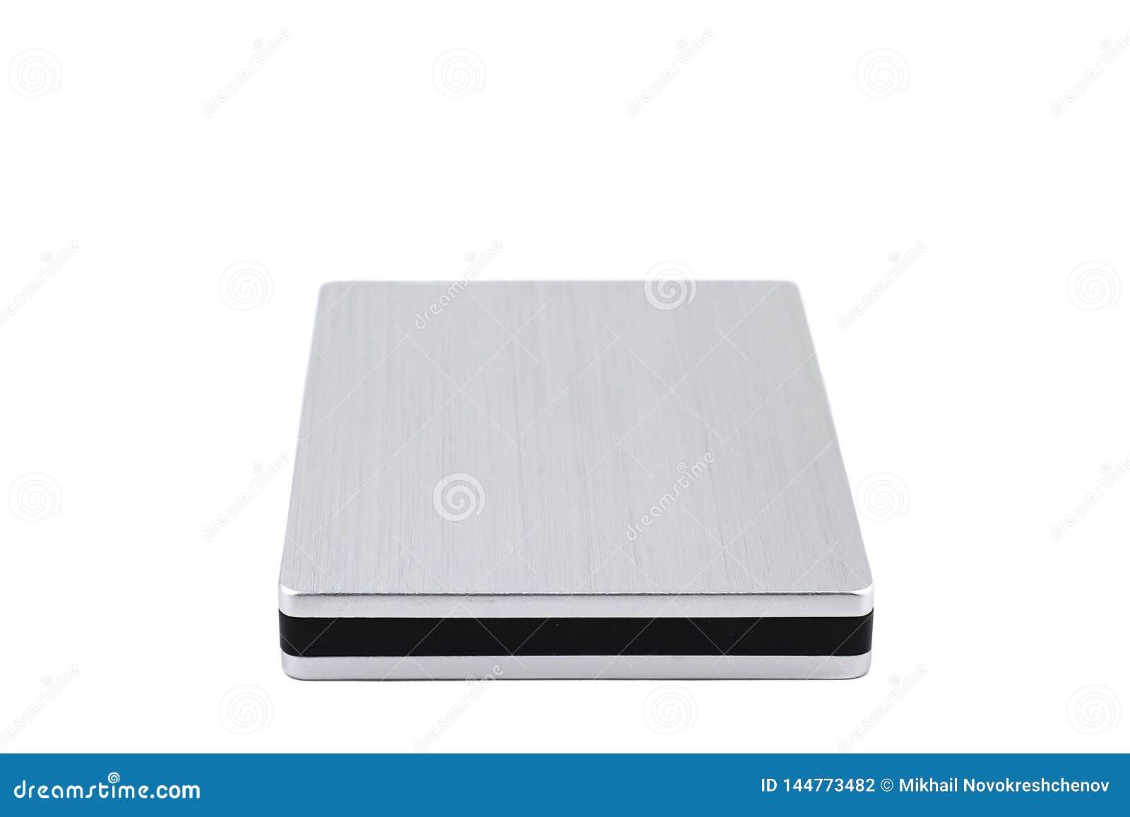 在白色背景隔绝的外置硬盘