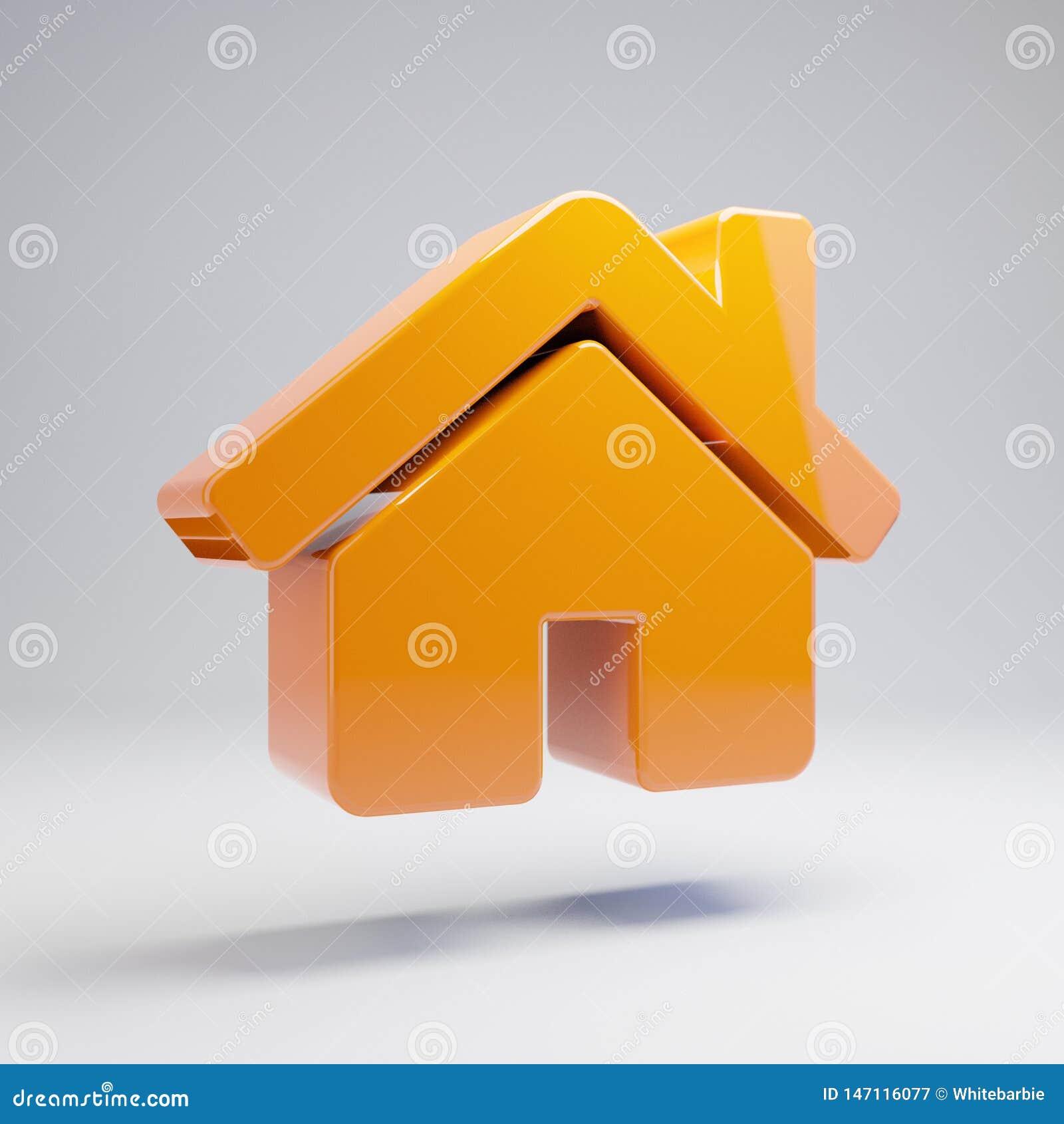 在白色背景隔绝的容量光滑的热的橙色家庭象
