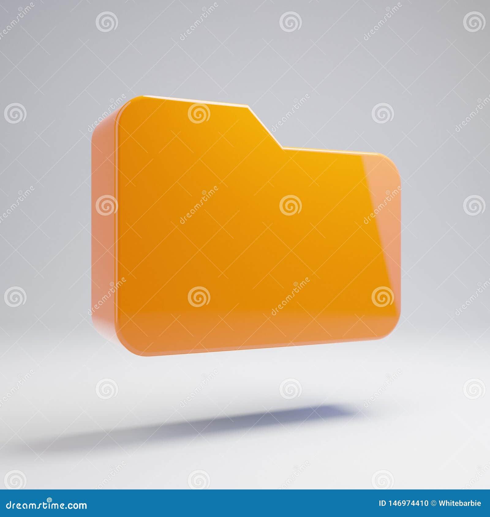 在白色背景隔绝的容量光滑的热的橙色文件夹象