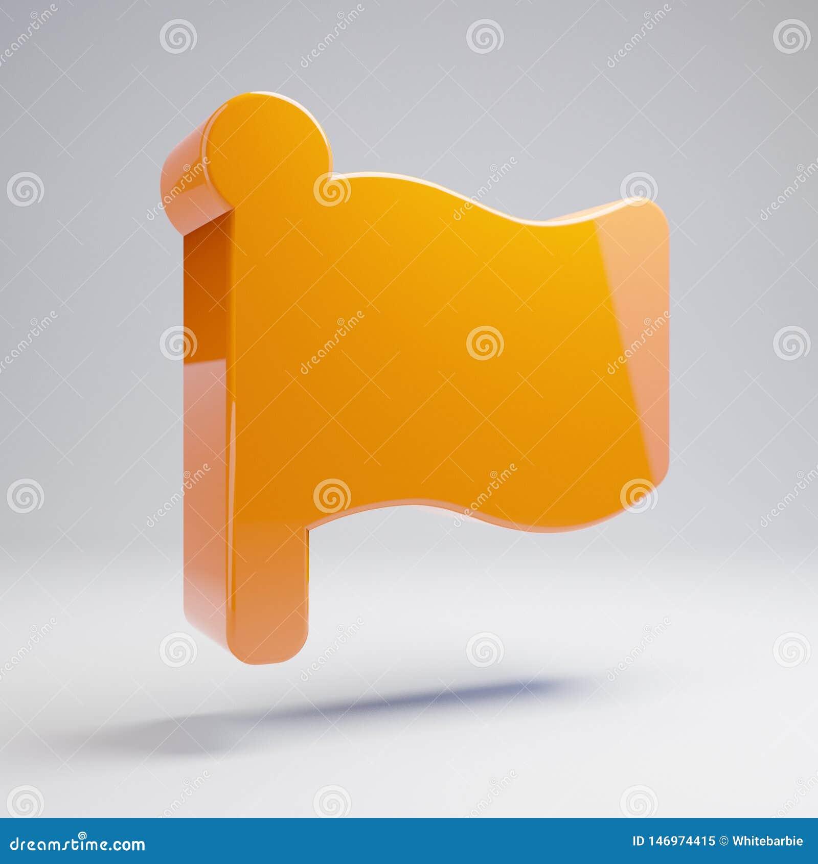 在白色背景隔绝的容量光滑的热的橙色旗子象