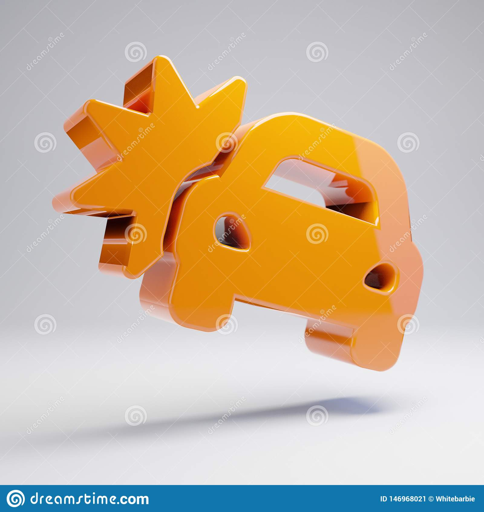在白色背景隔绝的容量光滑的热的橙色车祸象
