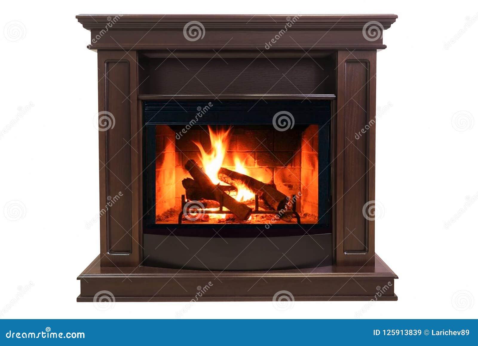 在白色背景隔绝的布朗灼烧的壁炉