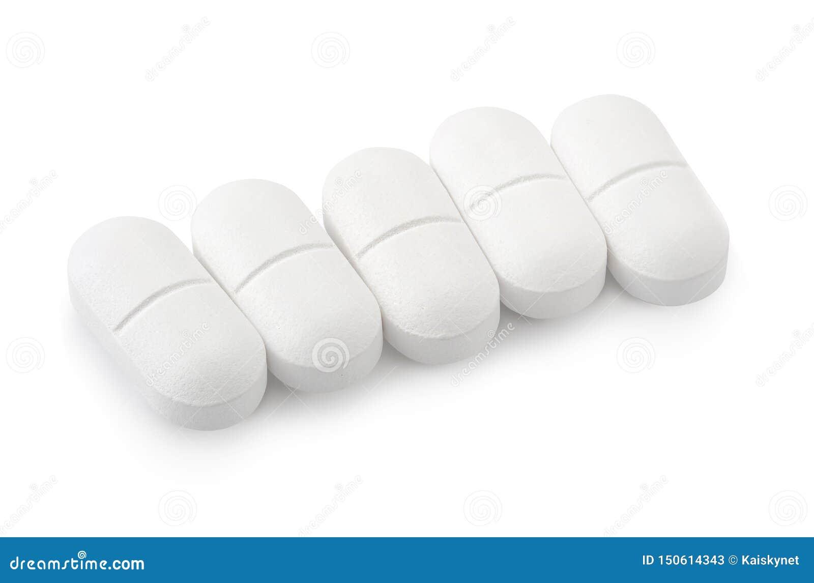 在白色背景隔绝的扑热息痛药物
