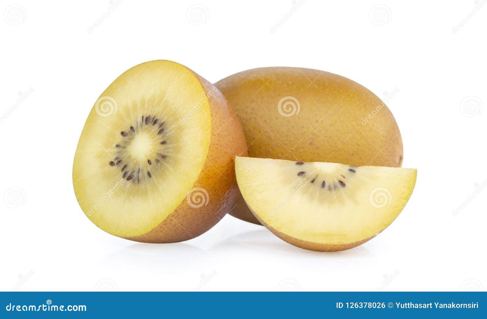 在白色背景隔绝的新金黄猕猴桃切片,果子conce
