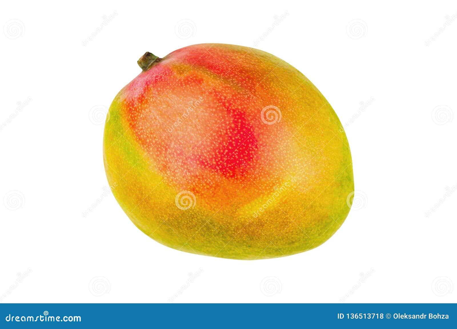 在白色背景隔绝的新鲜的整个成熟芒果 顶视图