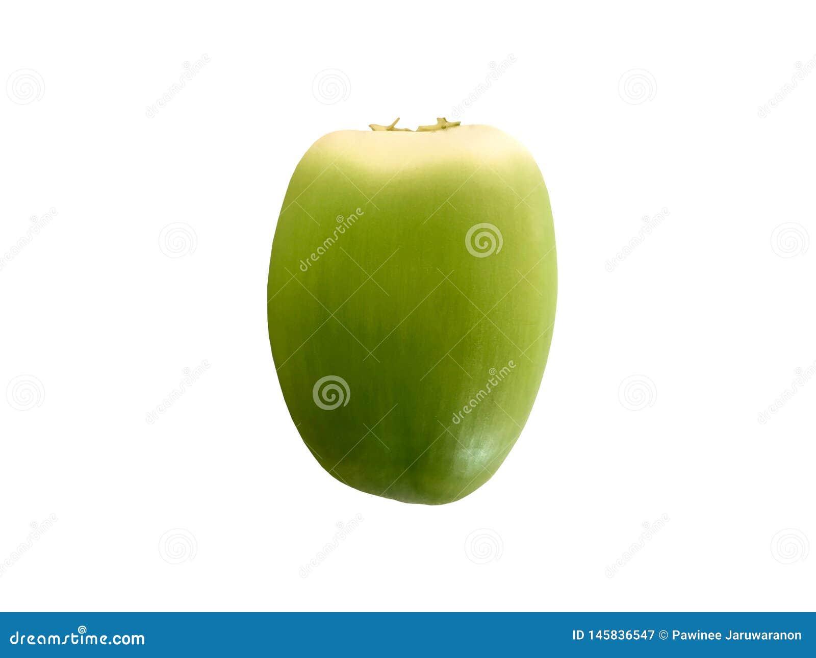 在白色背景隔绝的新鲜的绿色椰子
