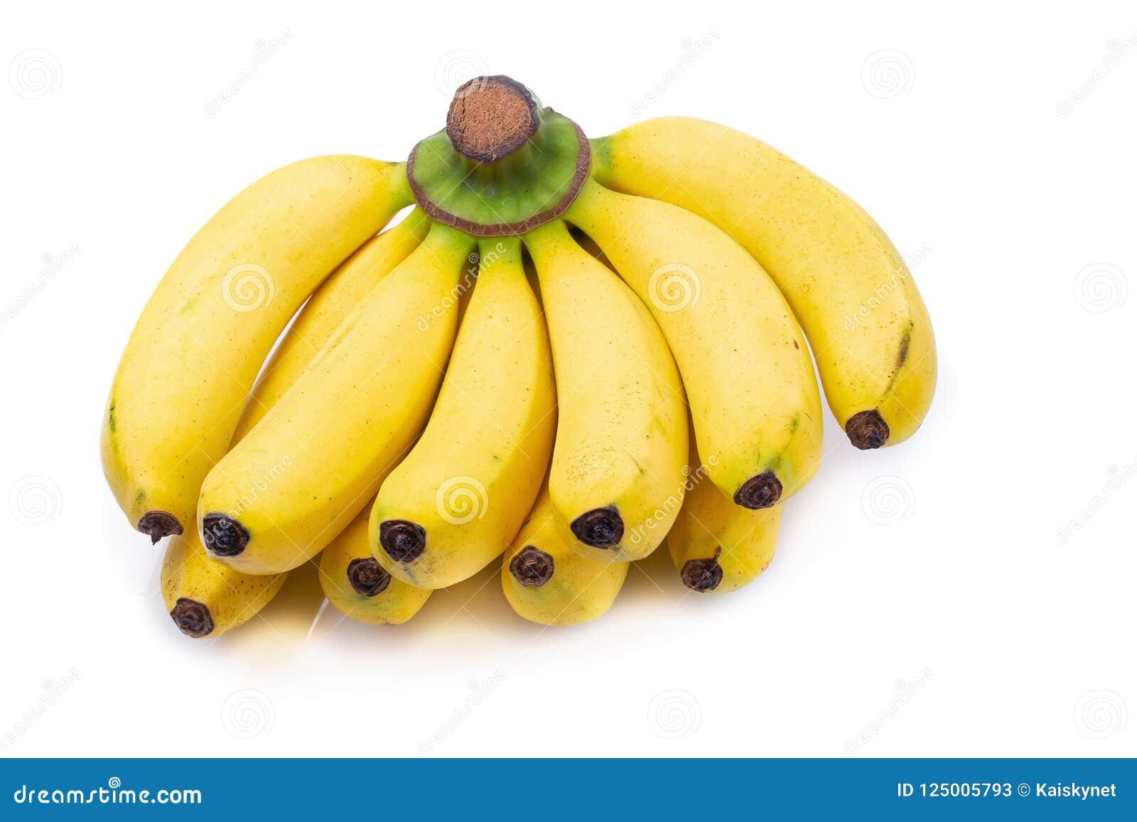 在白色背景隔绝的束香蕉