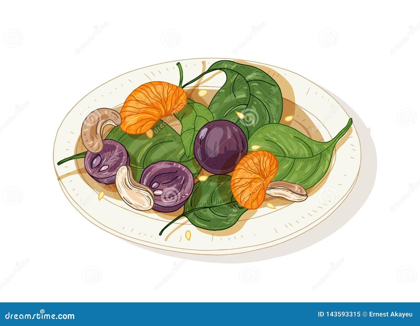 在白色背景隔绝的板材的可口沙拉 鲜美餐馆素食者起始者膳食由果子,坚果制成和