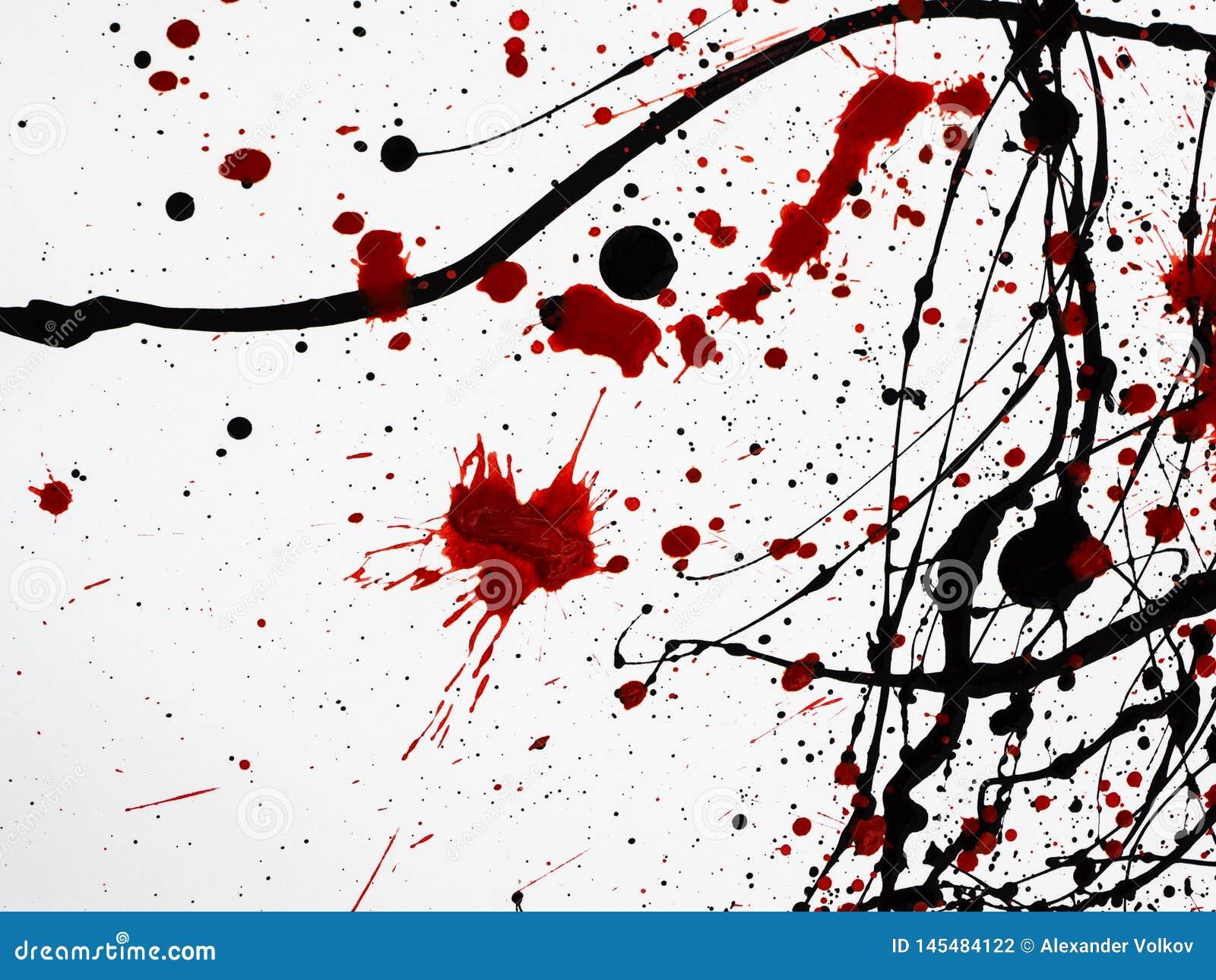 在白色背景隔绝的滴下的黑红色油漆 类似于血液 r