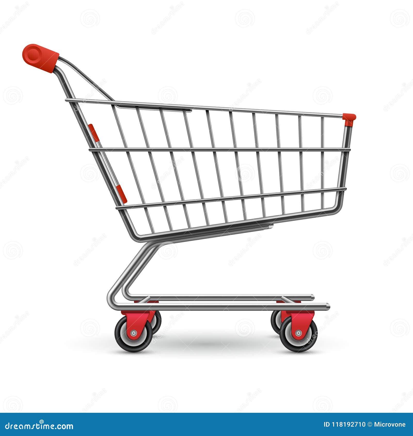 在白色背景隔绝的现实空的超级市场购物车传染媒介例证