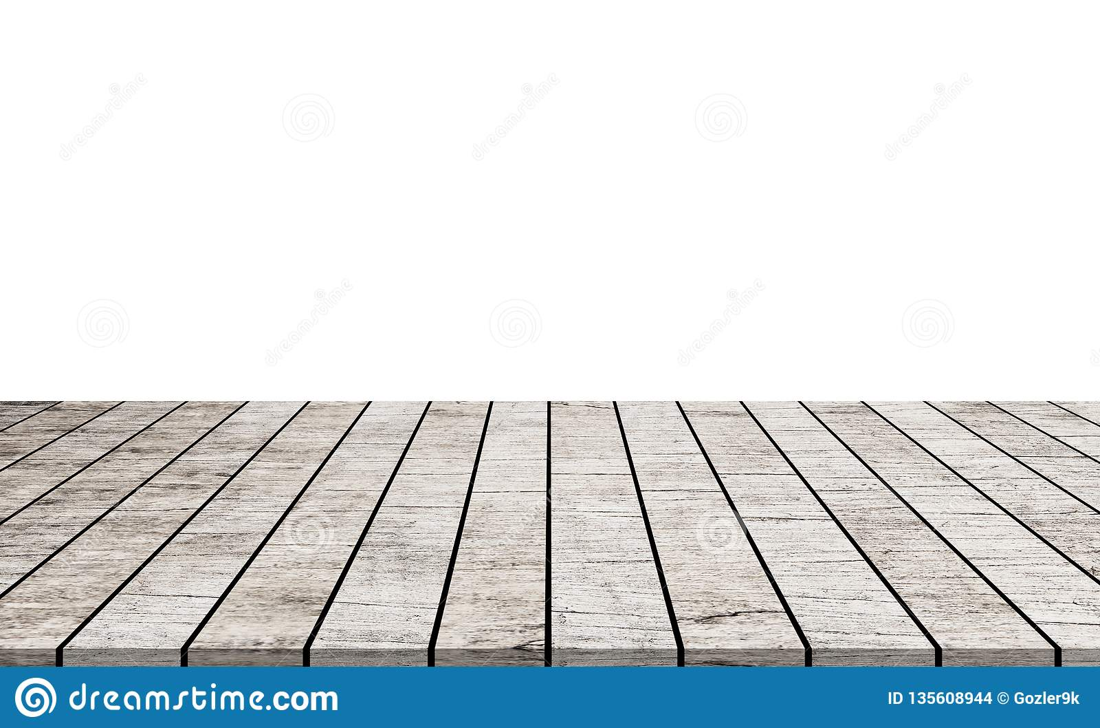 在白色背景隔绝的空木台式