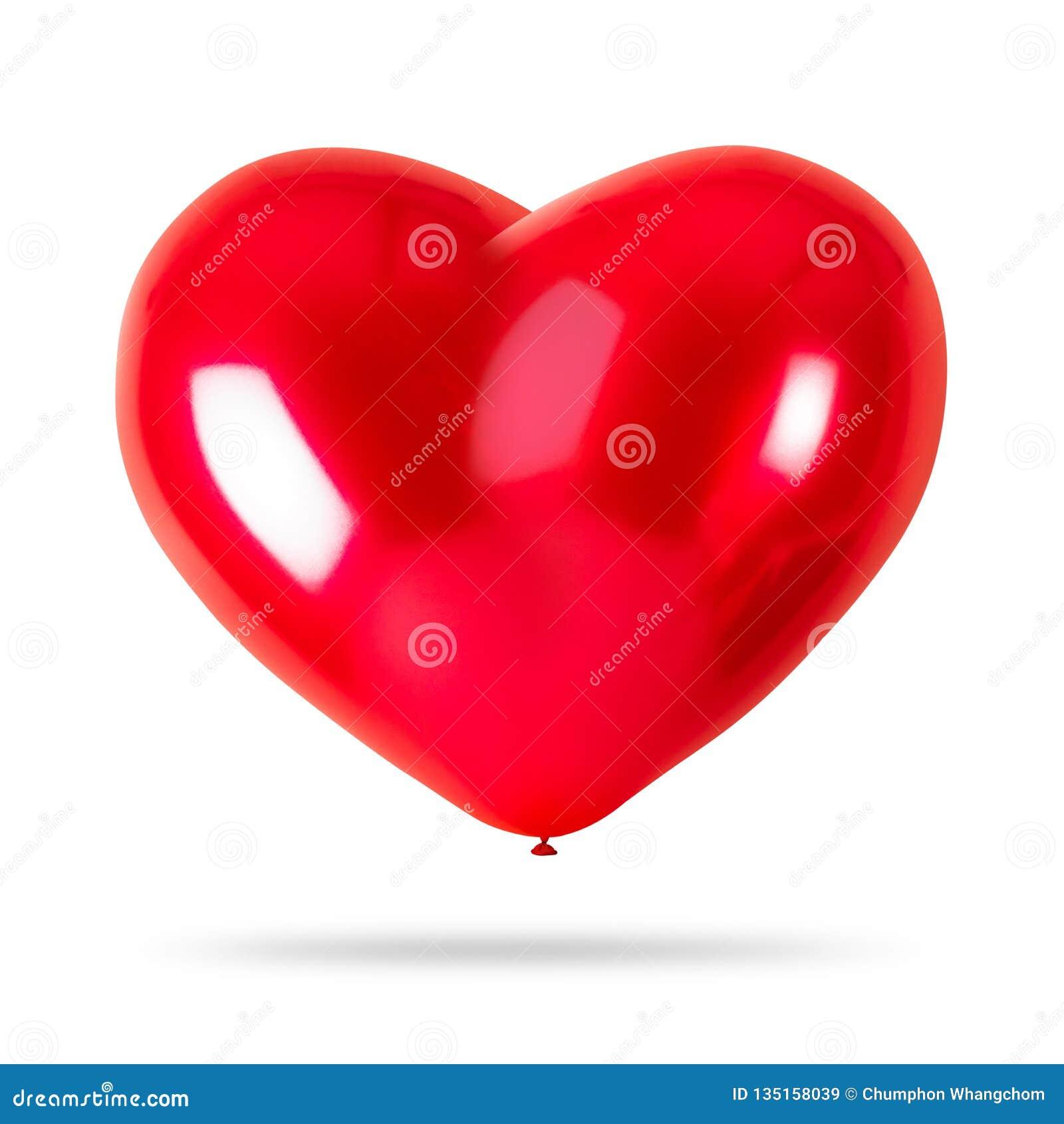 在白色背景隔绝的红色心脏气球 党装饰