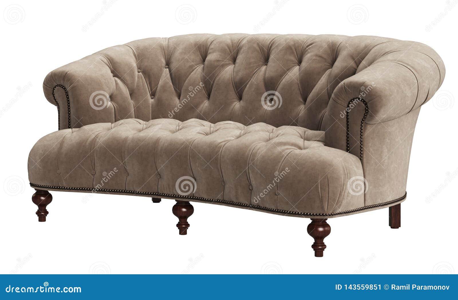 在白色背景隔绝的经典装缨球沙发