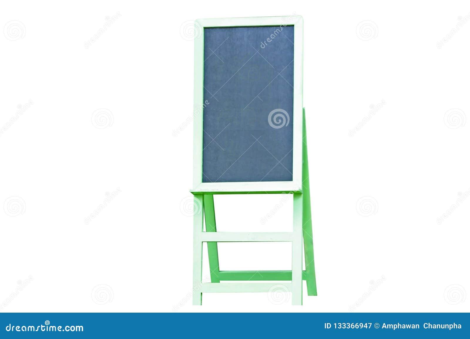 在白色背景隔绝的绿色黑板菜单