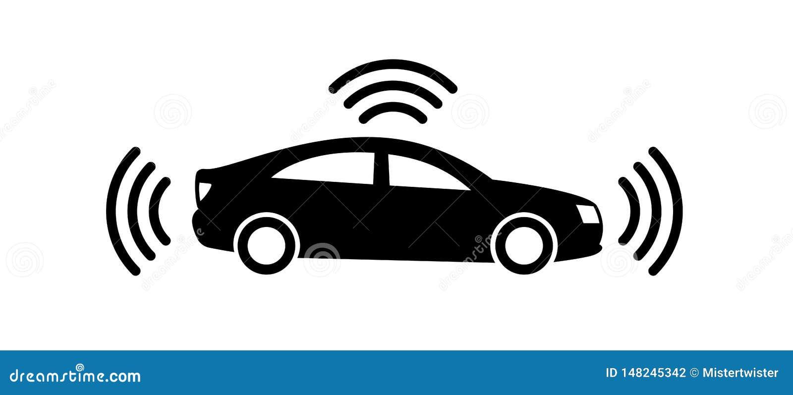 在白色背景隔绝的自治汽车象 自驾驶车图表 与gps信号的聪明的汽车标志 ??